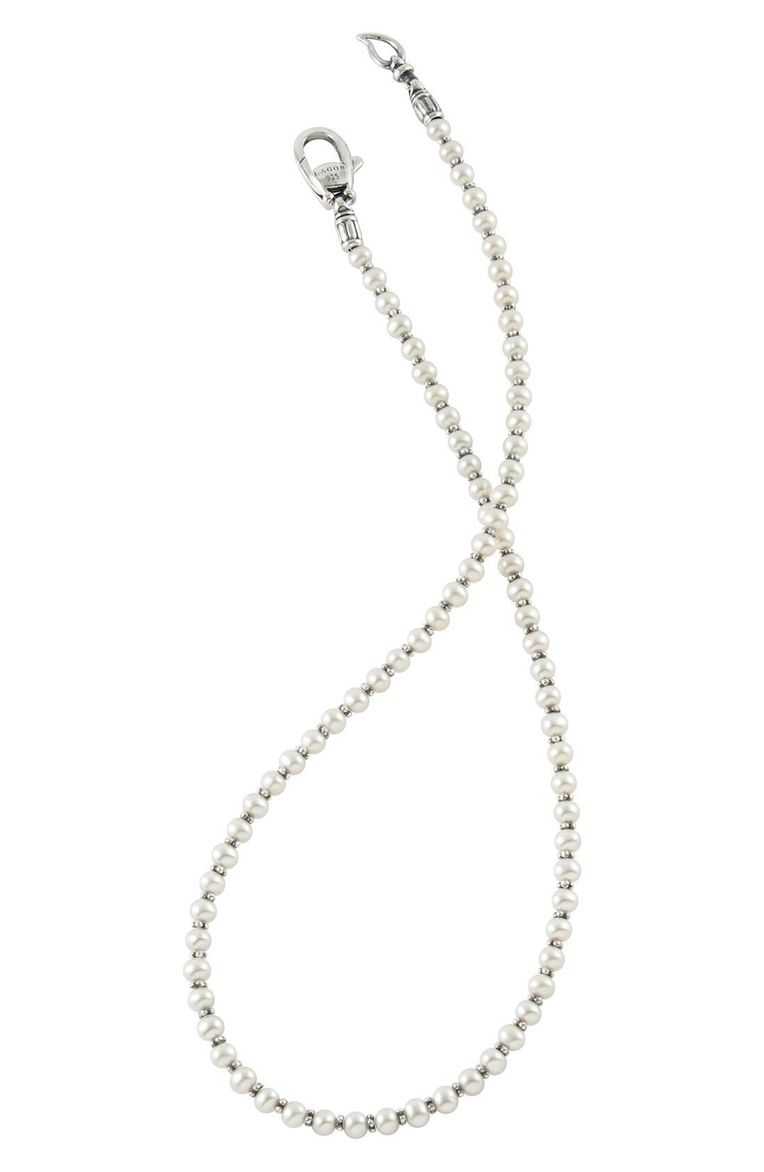 'Luna' Pearl Necklace,                             Alternate thumbnail 4, color,                             SILVER/ PEARL