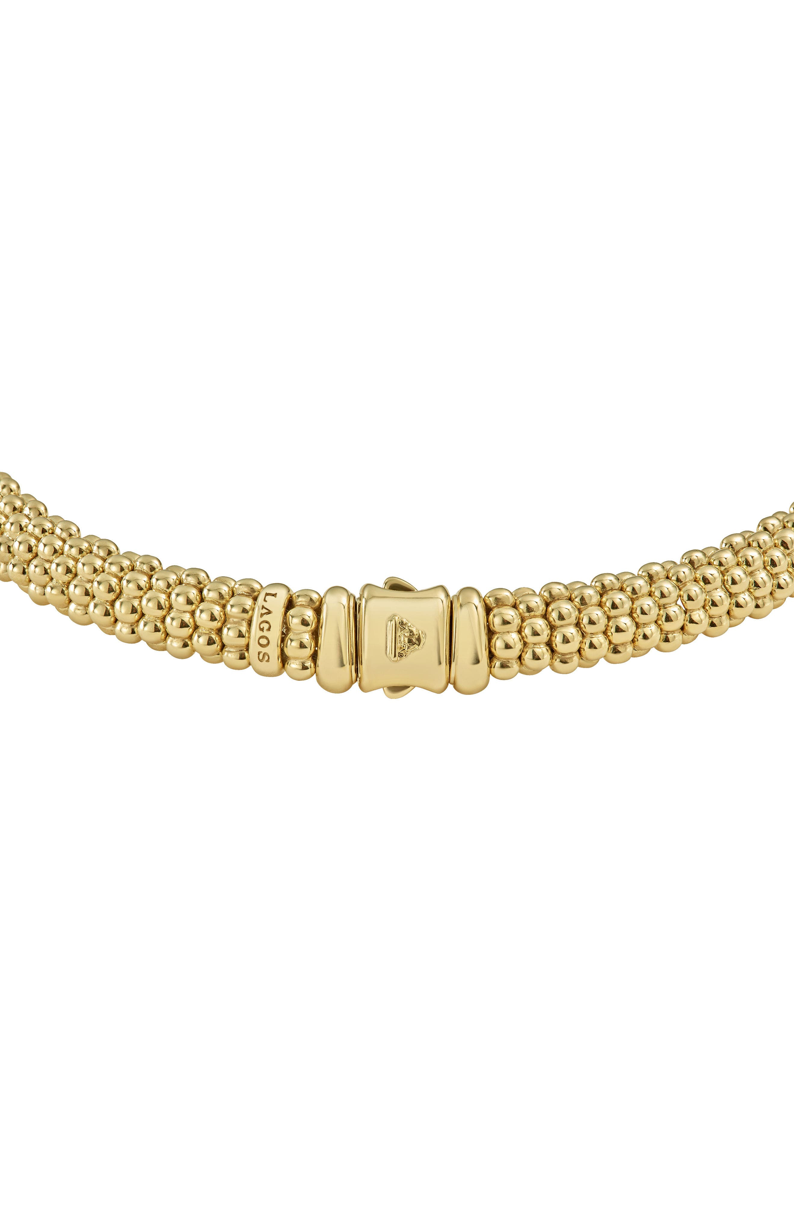 Caviar Gold Rope Necklace,                             Alternate thumbnail 3, color,                             GOLD