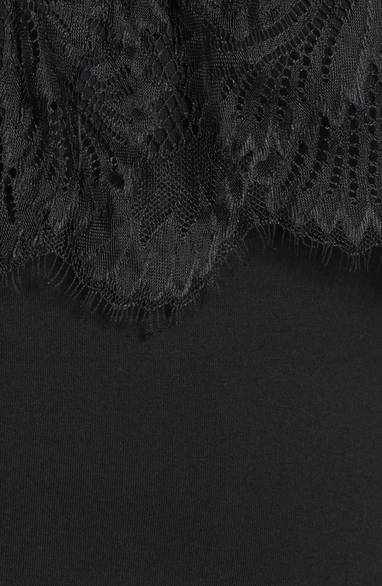 Cold Shoulder Lace Yoke Top,                             Alternate thumbnail 5, color,                             001