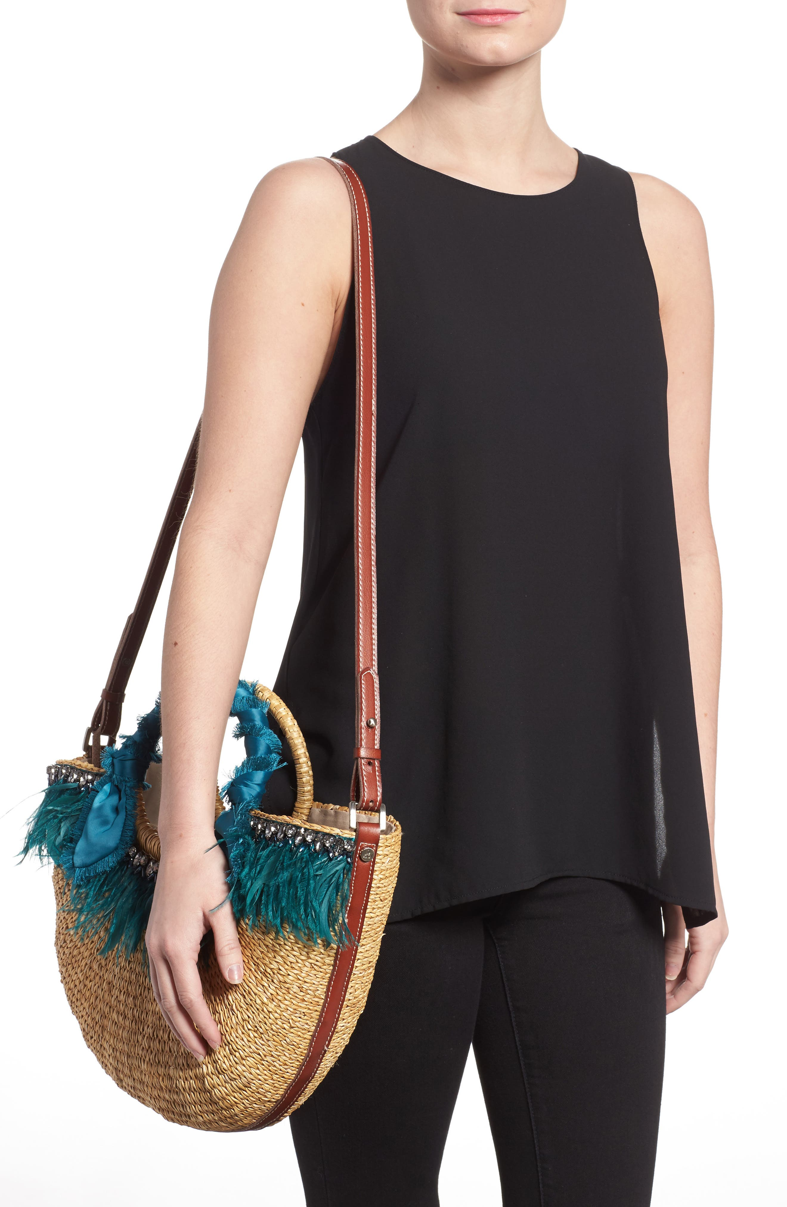 Eliya Feather Straw Tote,                             Alternate thumbnail 2, color,                             250