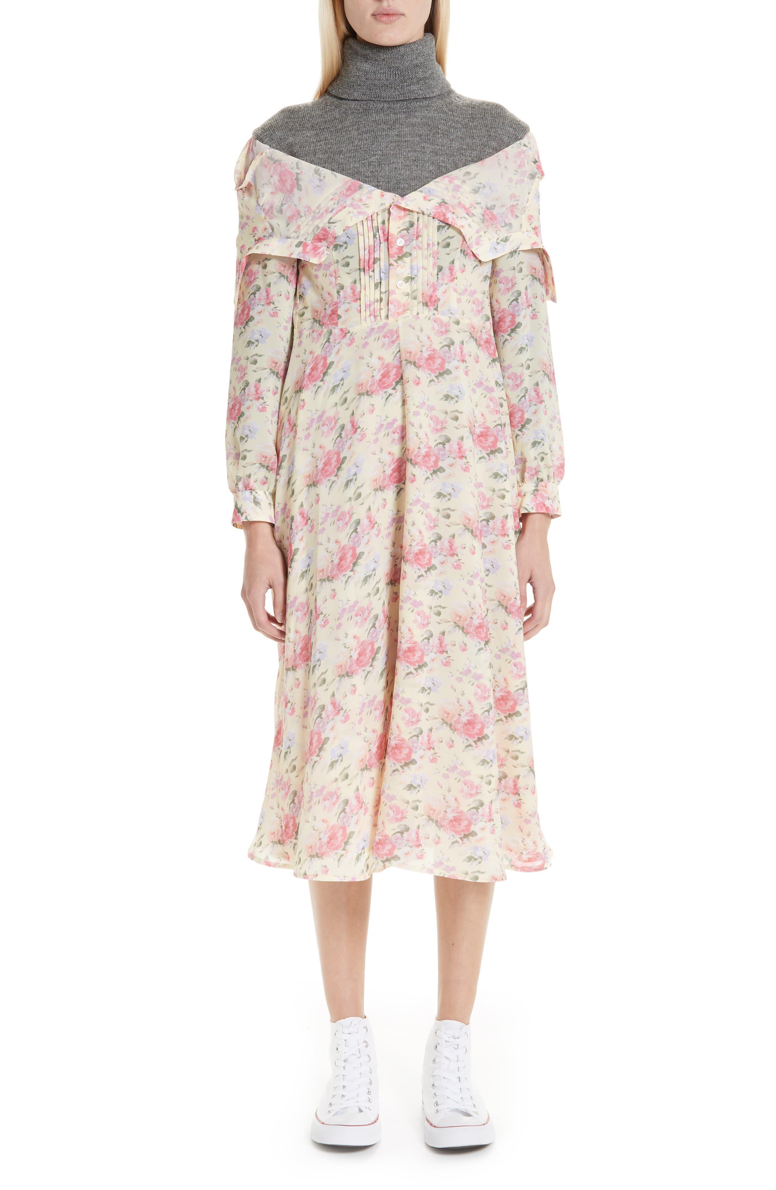 Mixed Media Floral Turtleneck Dress,                         Main,                         color, YELLOW/ PINK/ PPL/ GREY