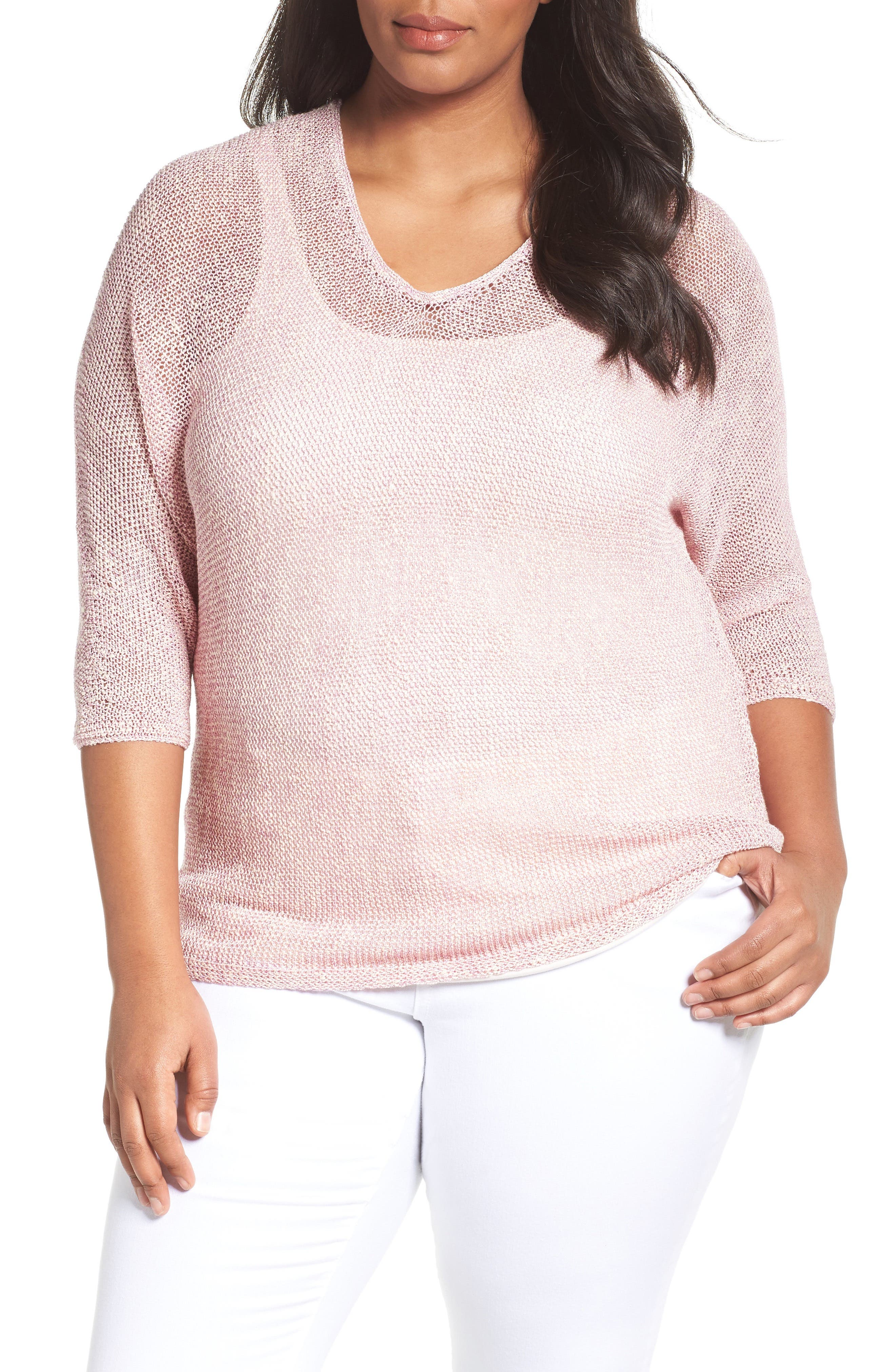 Sunkissed Sheer Linen Blend Pullover,                         Main,                         color, CLOVER