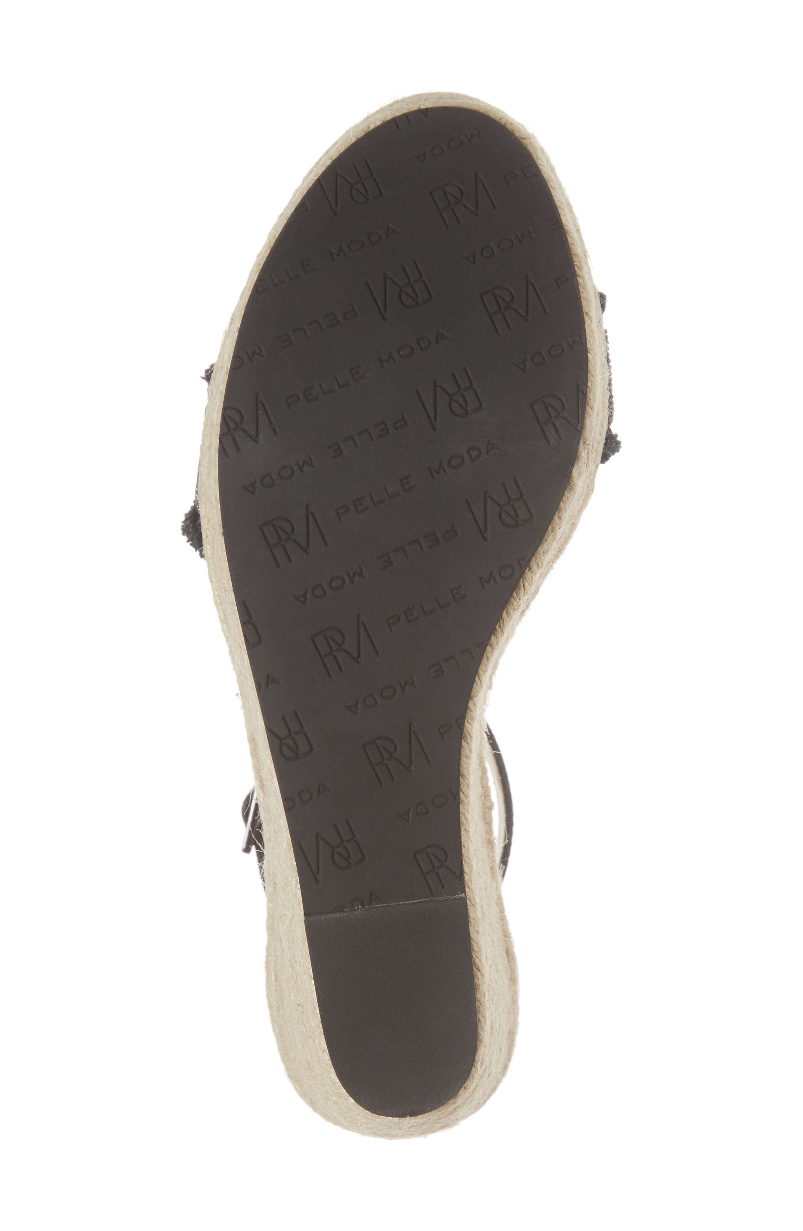 Radley Espadrille Wedge Sandal,                             Alternate thumbnail 6, color,                             BLACK LEATHER