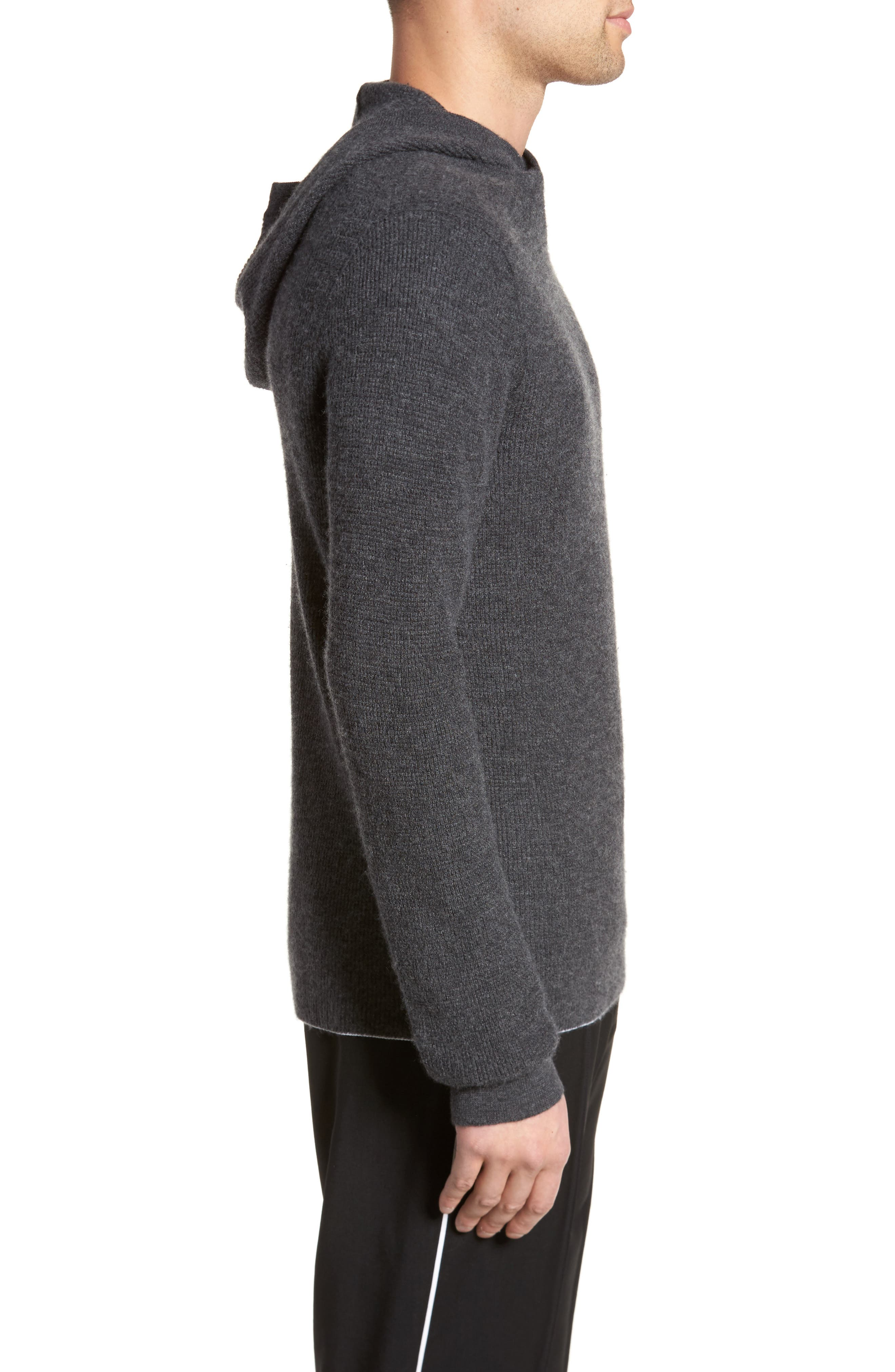 Thermal Knit Cashmere Hooded Sweater,                             Alternate thumbnail 3, color,                             020