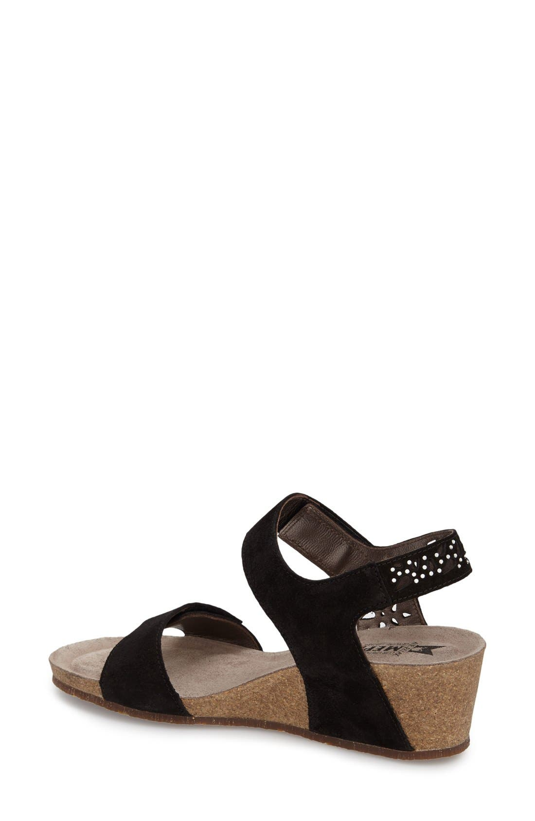 'Marie - Spark' Wedge Sandal,                             Alternate thumbnail 2, color,                             BLACK SUEDE