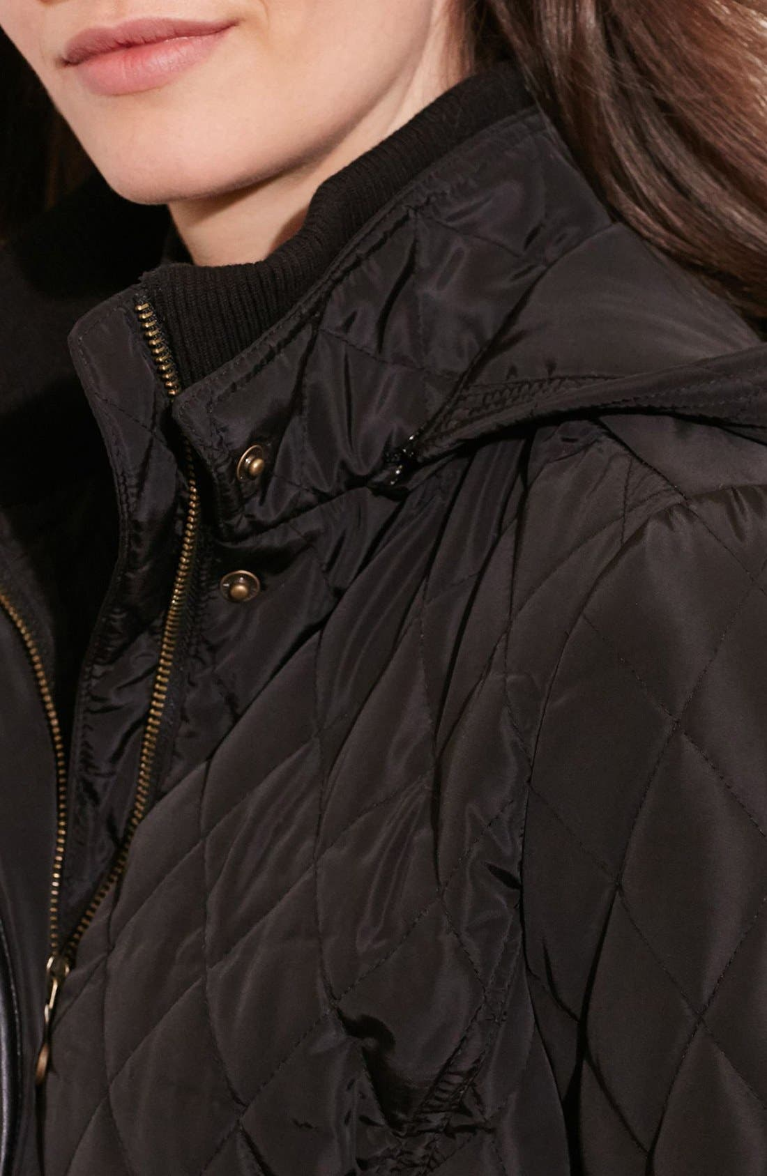Diamond Quilted Coat with Faux Leather Trim,                             Alternate thumbnail 6, color,