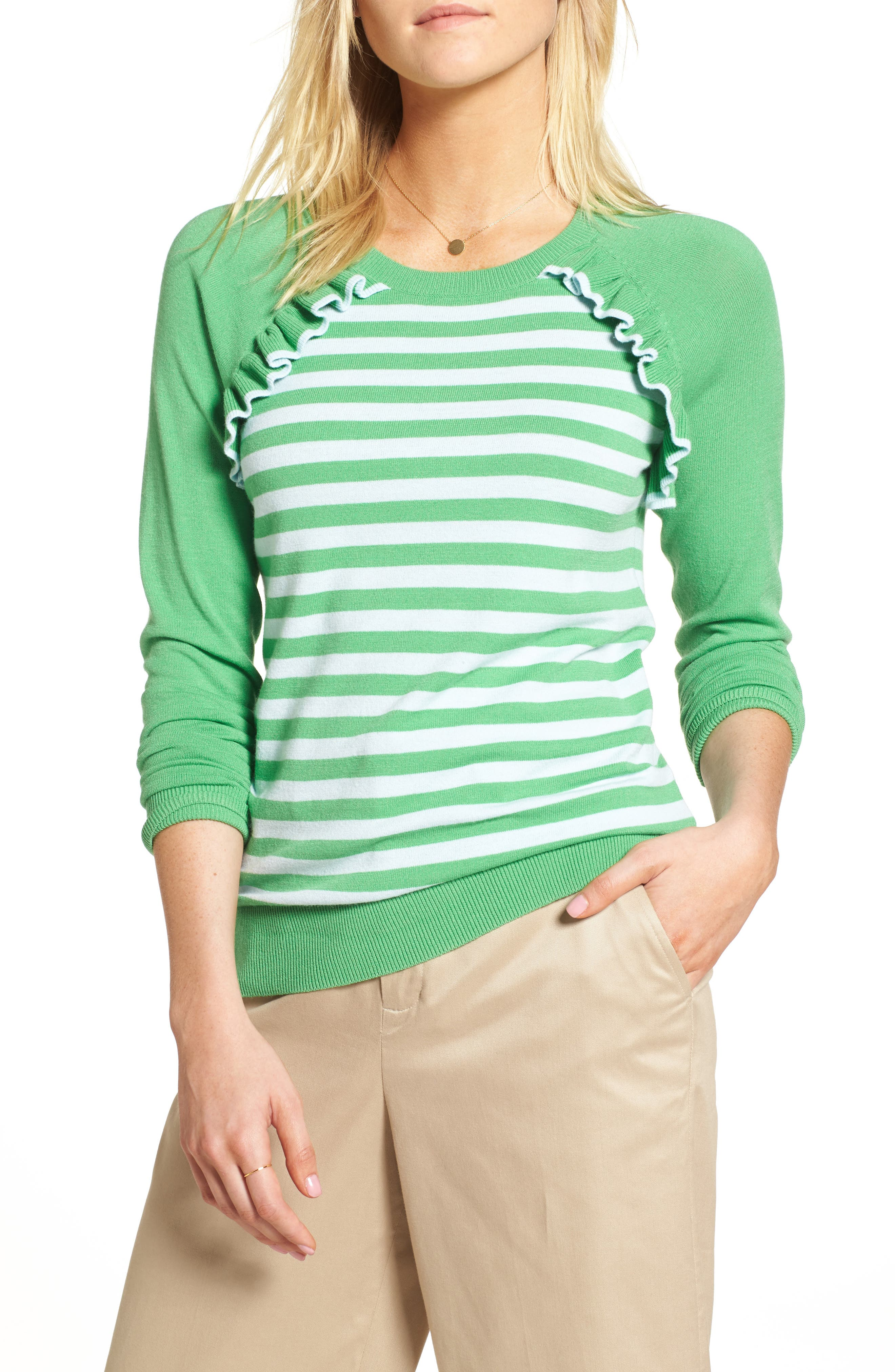 Ruffle Trim Stripe Sweater,                             Main thumbnail 1, color,