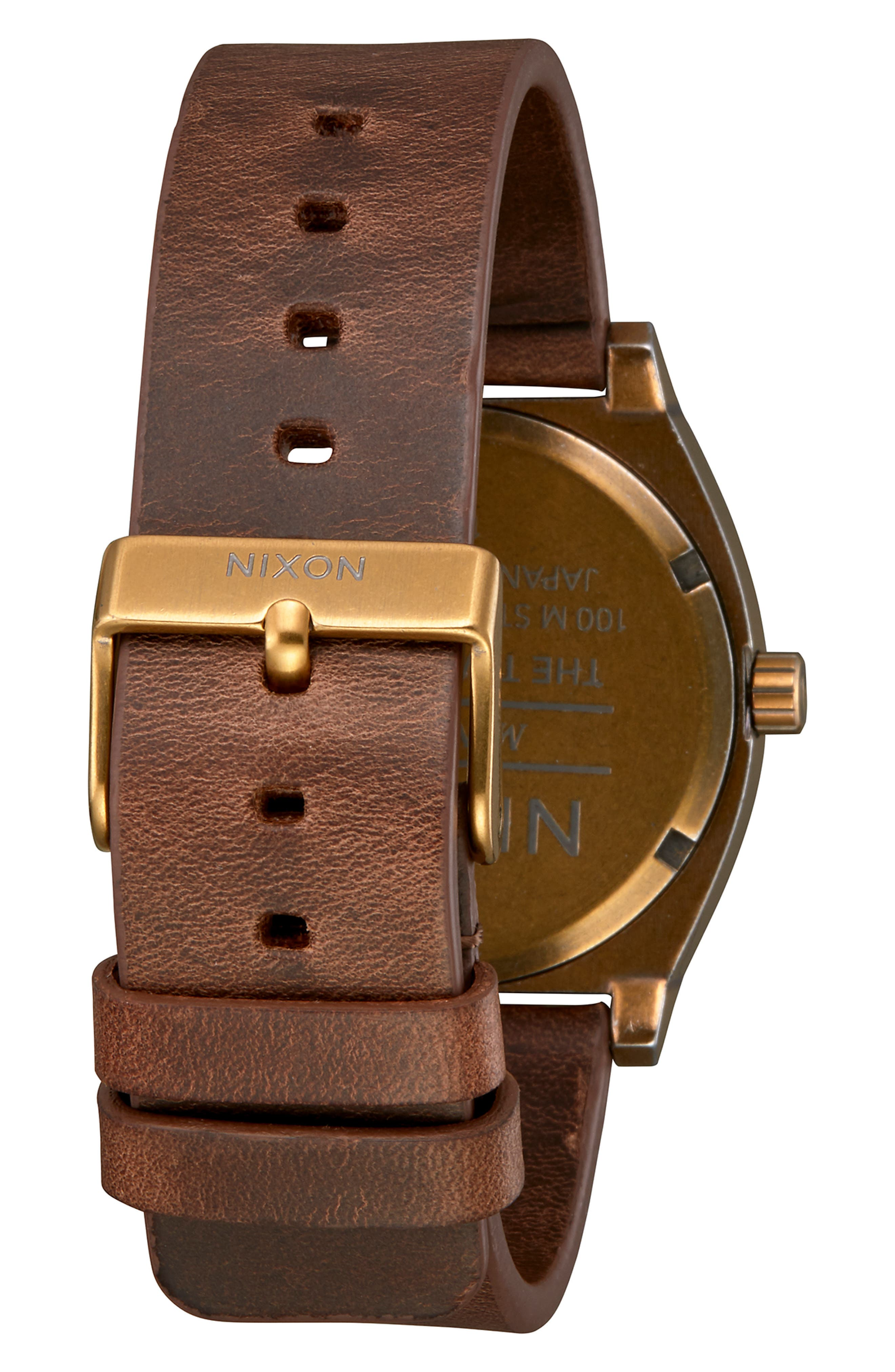 'The Time Teller' Leather Strap Watch, 37mm,                             Alternate thumbnail 2, color,                             BROWN/ BLACK/ BRASS