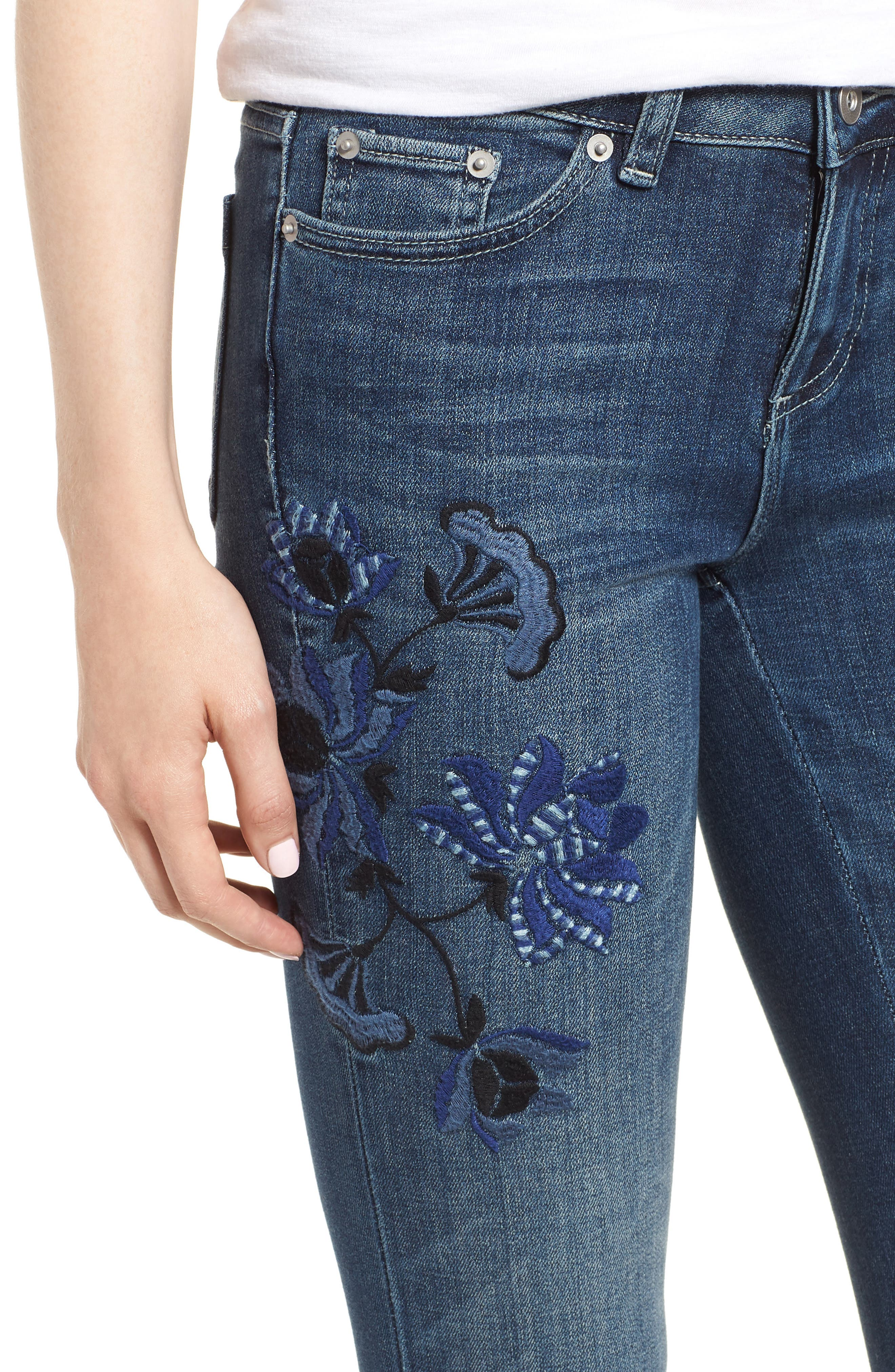 Floral Embroidered Skinny Jeans,                             Alternate thumbnail 4, color,                             464
