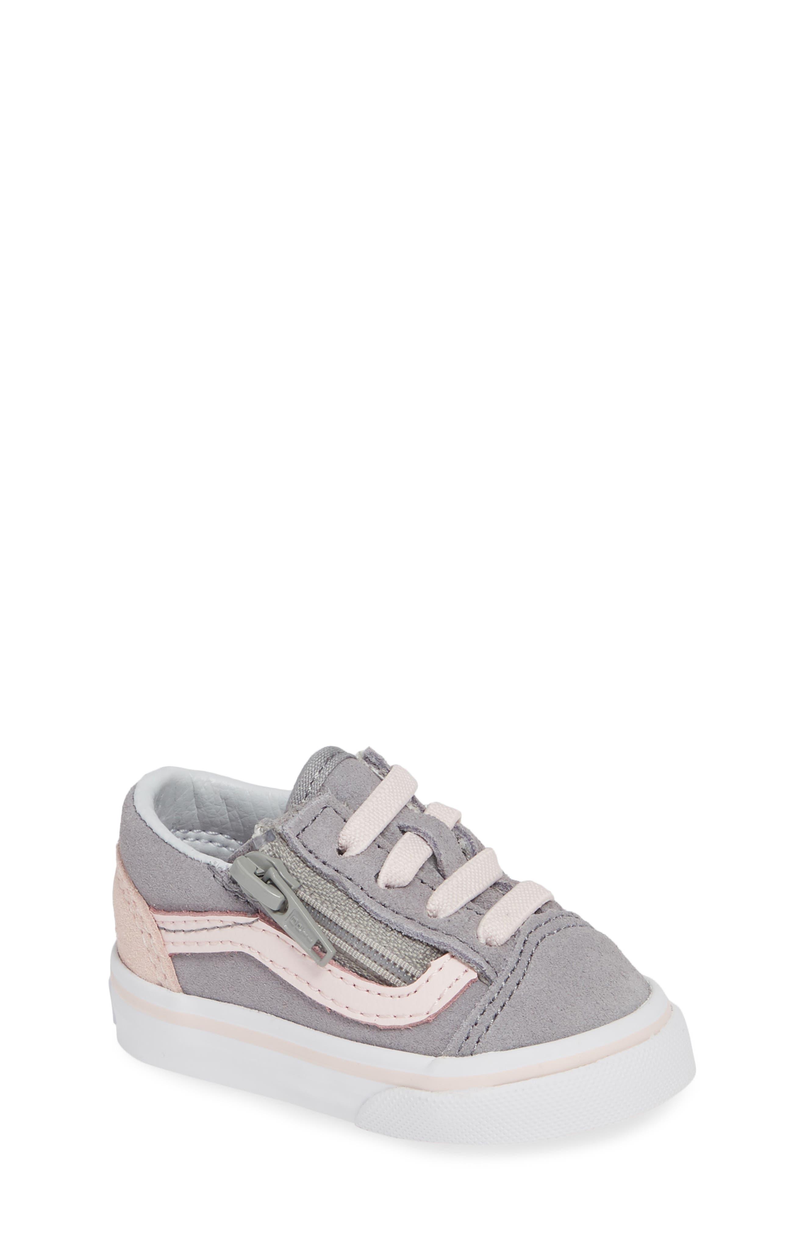 Old Skool Zip Sneaker,                             Main thumbnail 1, color,                             SUEDE ALLOY/ PINK/ TRUE WHITE