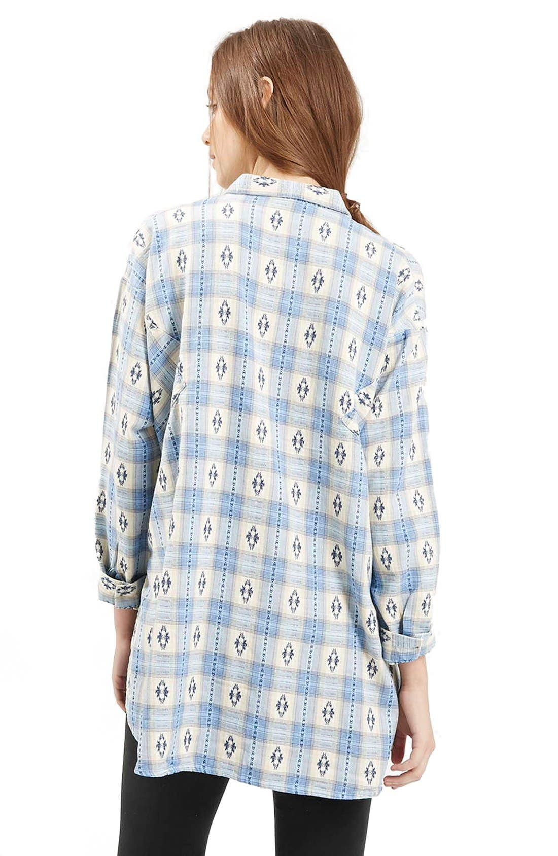 Southwestern Print Oversize Button Down Shirt,                             Alternate thumbnail 5, color,                             450