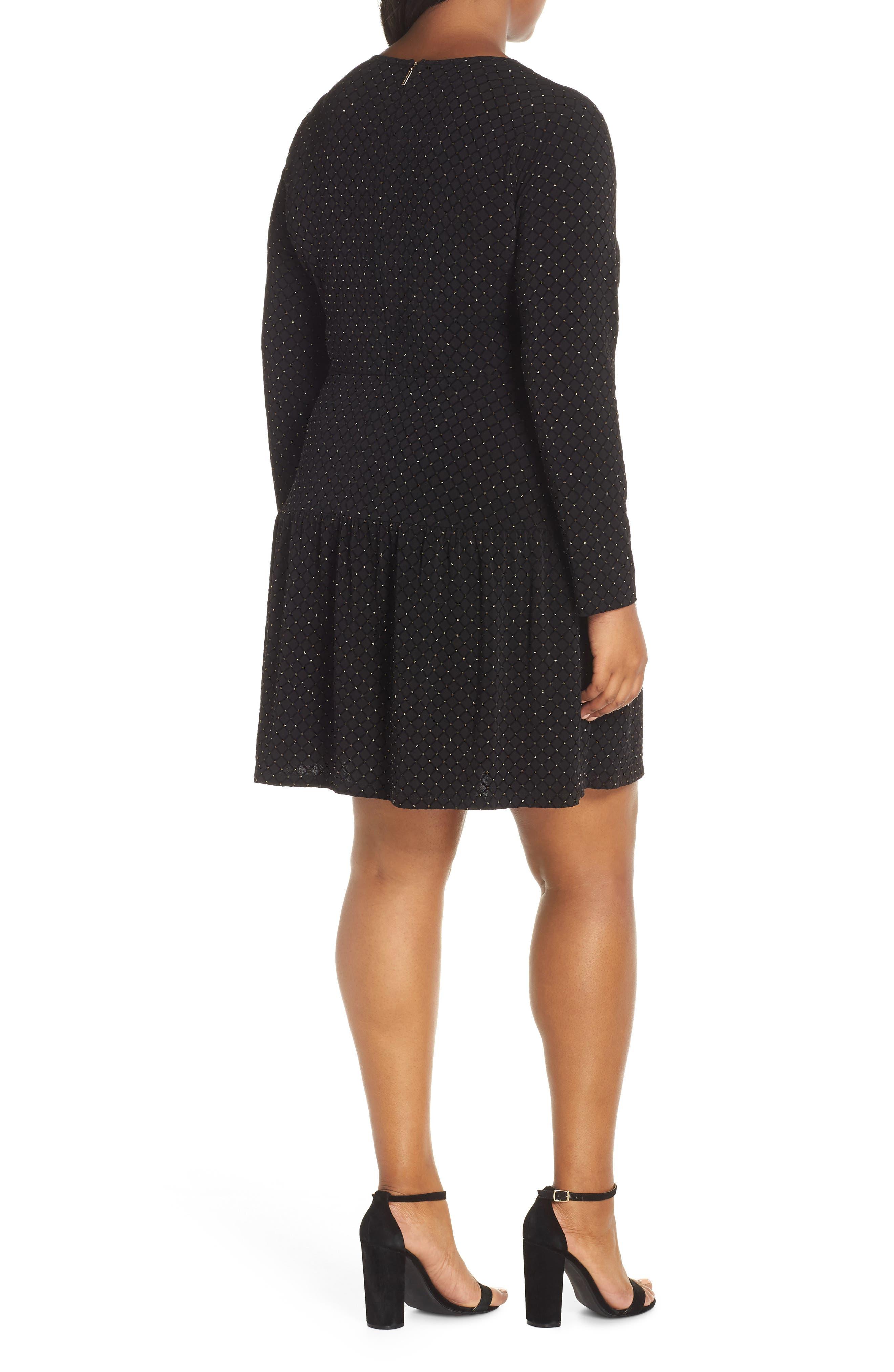Long Sleeve Pleated Skirt Dress,                             Alternate thumbnail 2, color,                             BLACK/ GOLD
