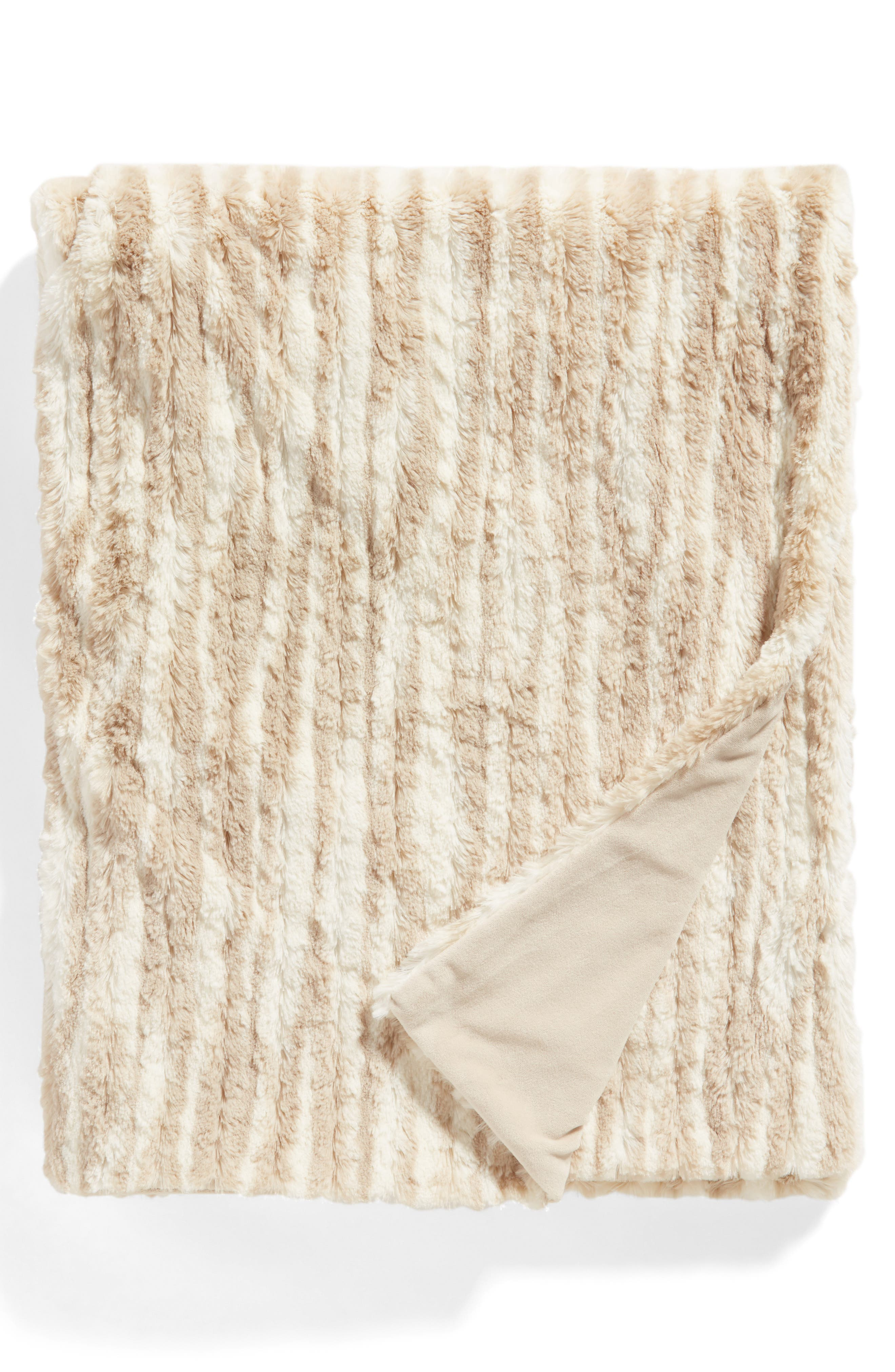 Soft Ribbed Plush Throw,                             Main thumbnail 1, color,                             BEIGE OATMEAL PRINT