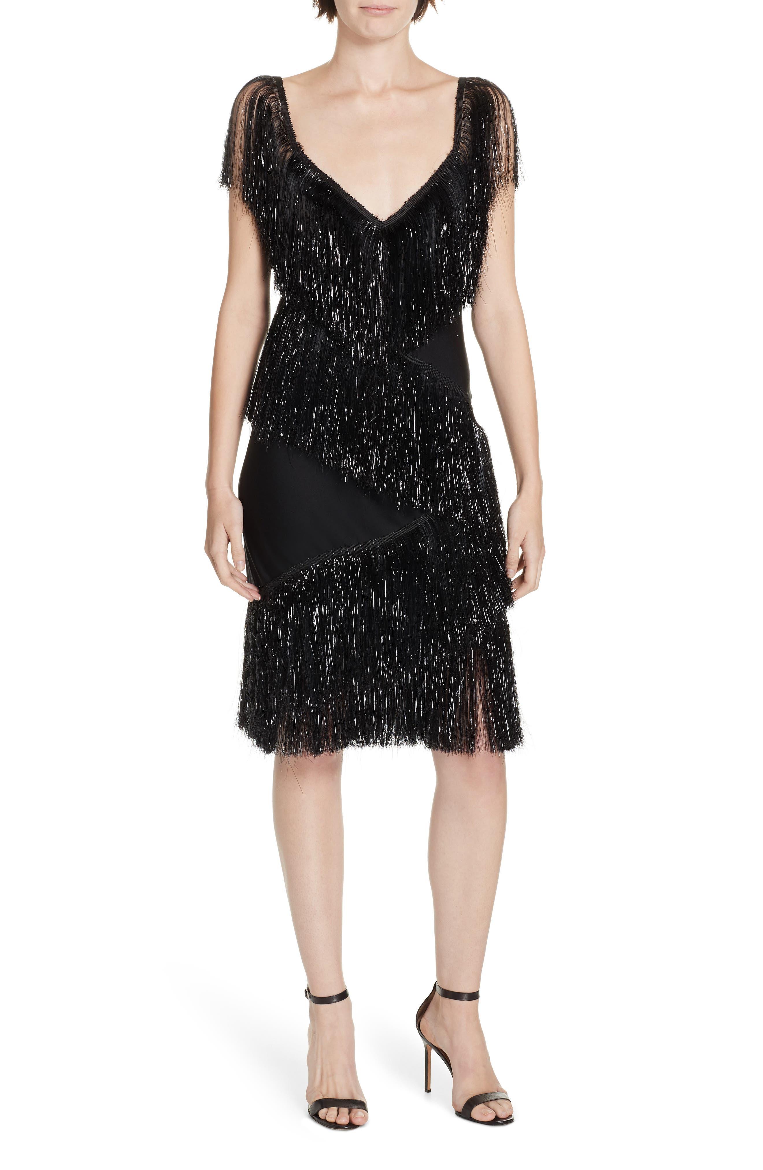 1920s Evening Dresses & Formal Gowns Womens Dvf Olvera Fringe Dress $568.00 AT vintagedancer.com
