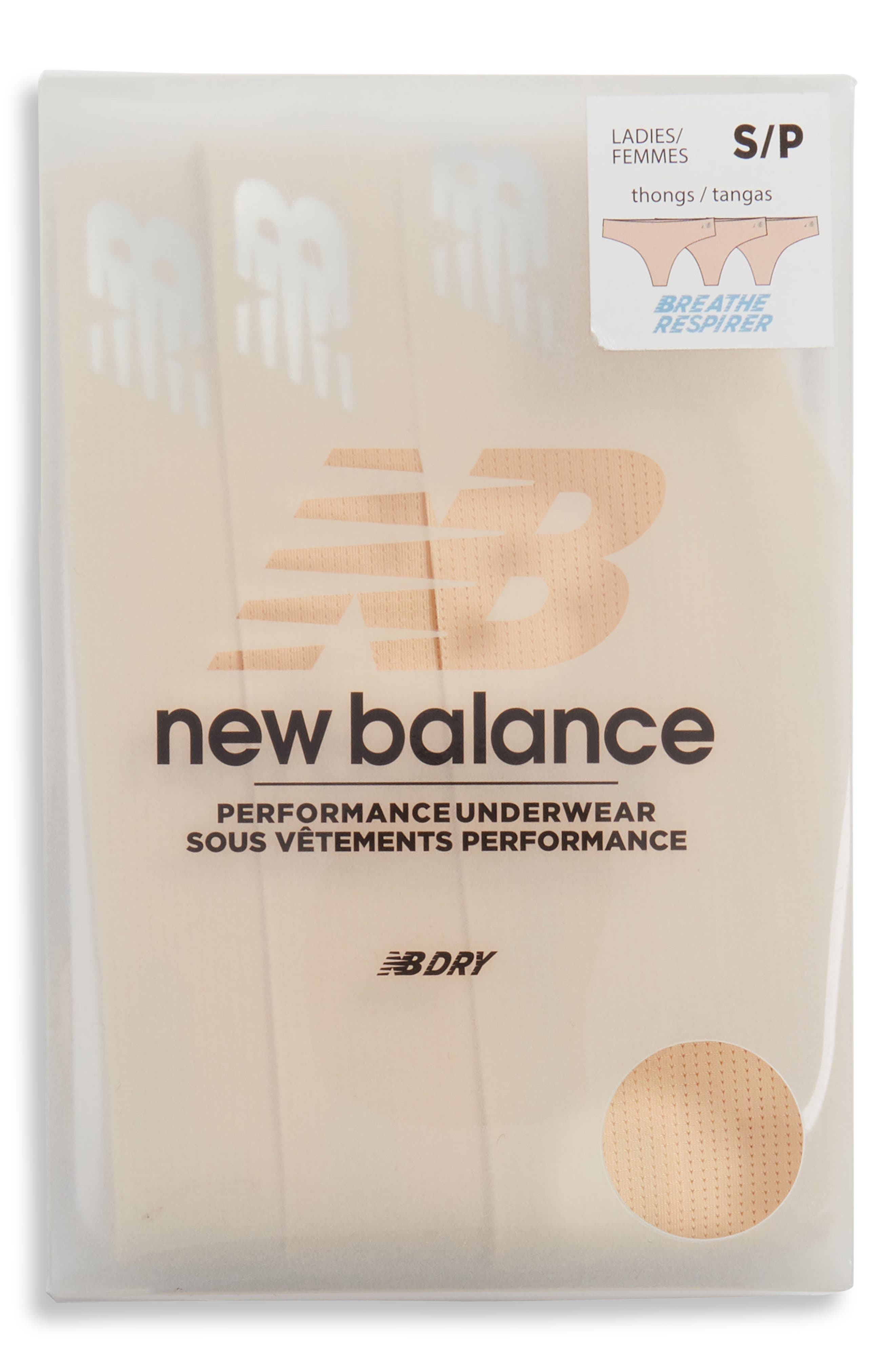 New Balance Breathe 3-Pack Thongs, Beige