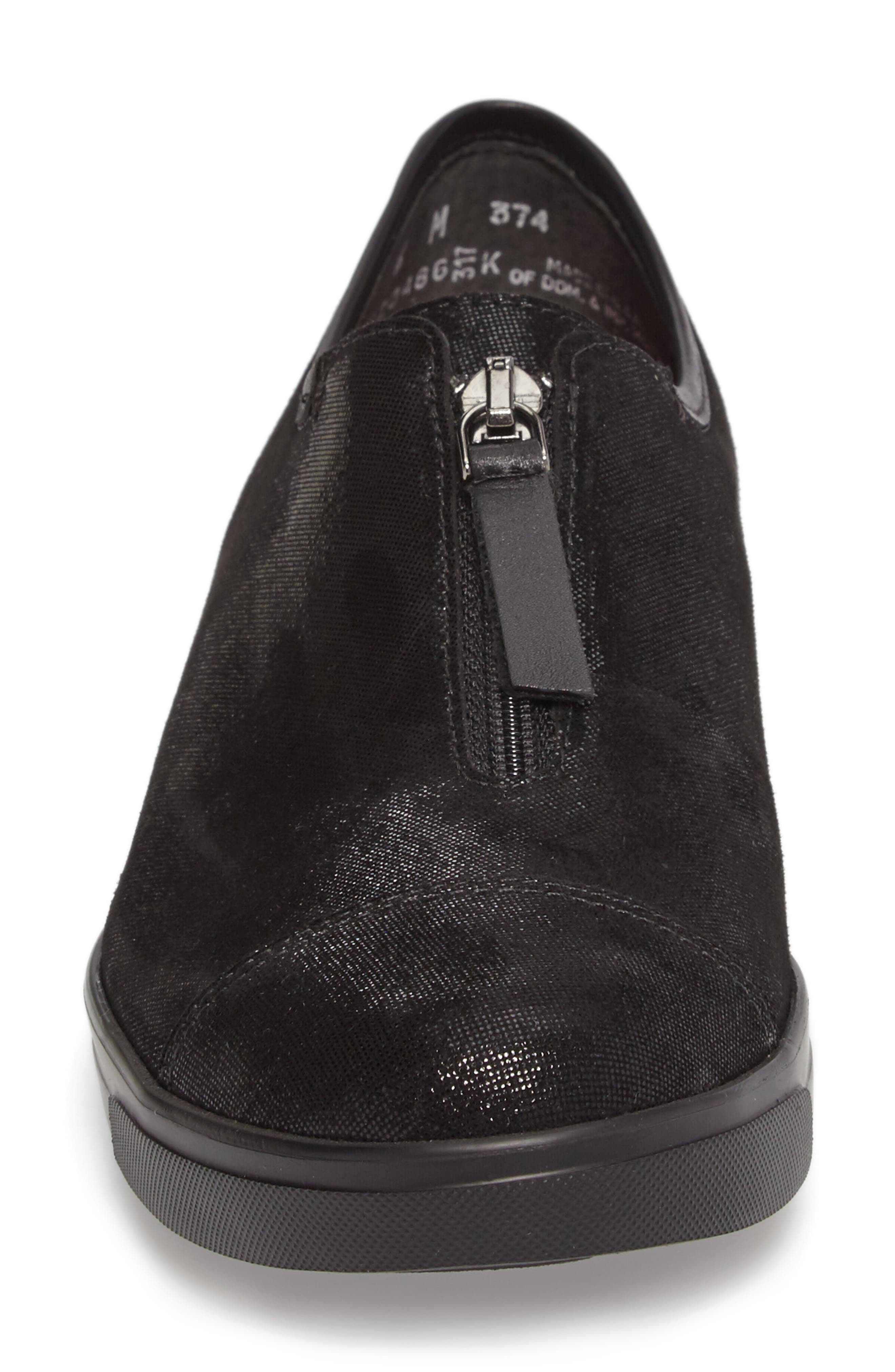 Roslyn Zip Sneaker,                             Alternate thumbnail 4, color,                             001