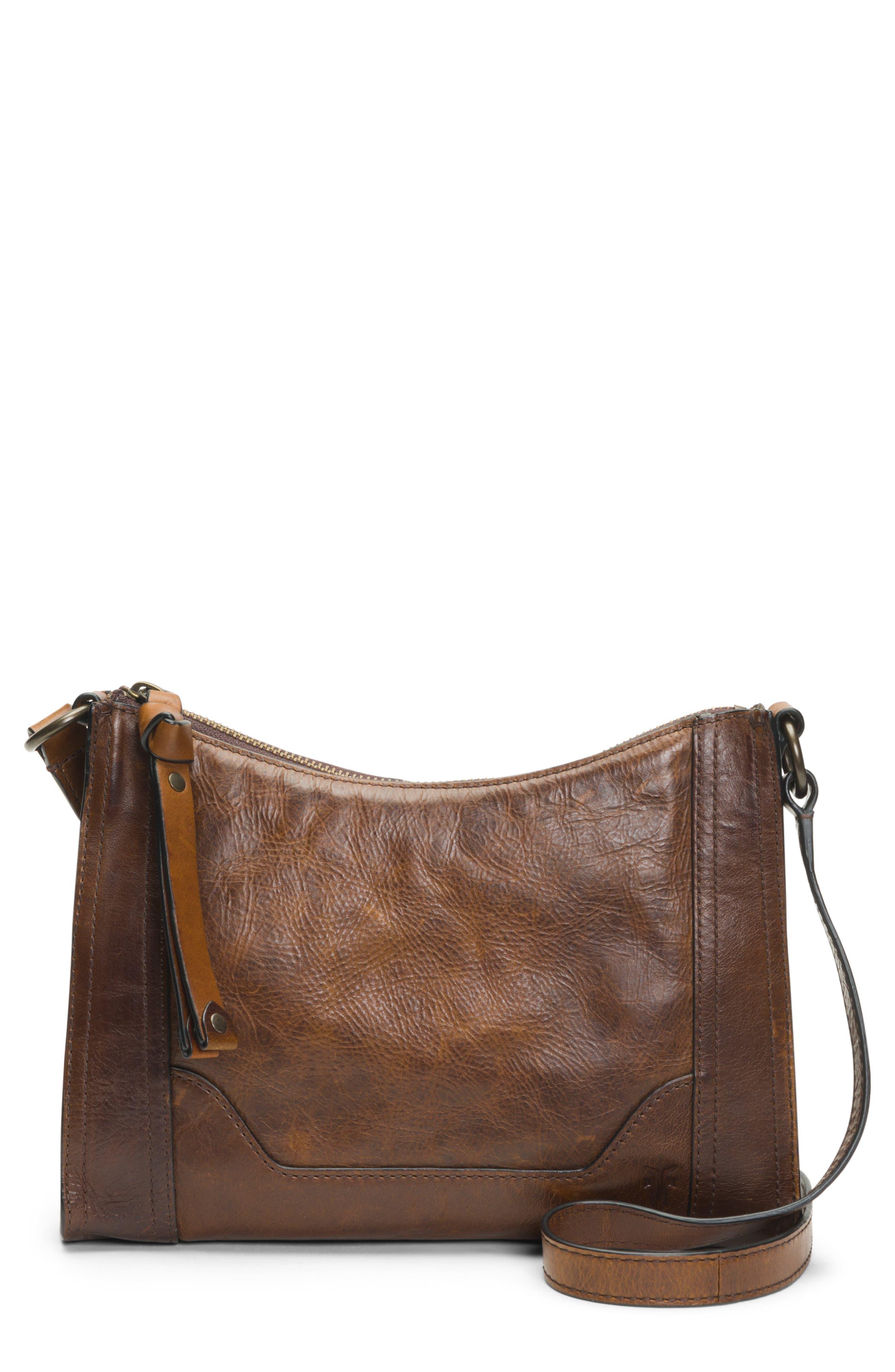 Melissa Leather Crossbody Bag,                             Main thumbnail 1, color,                             DARK BROWN