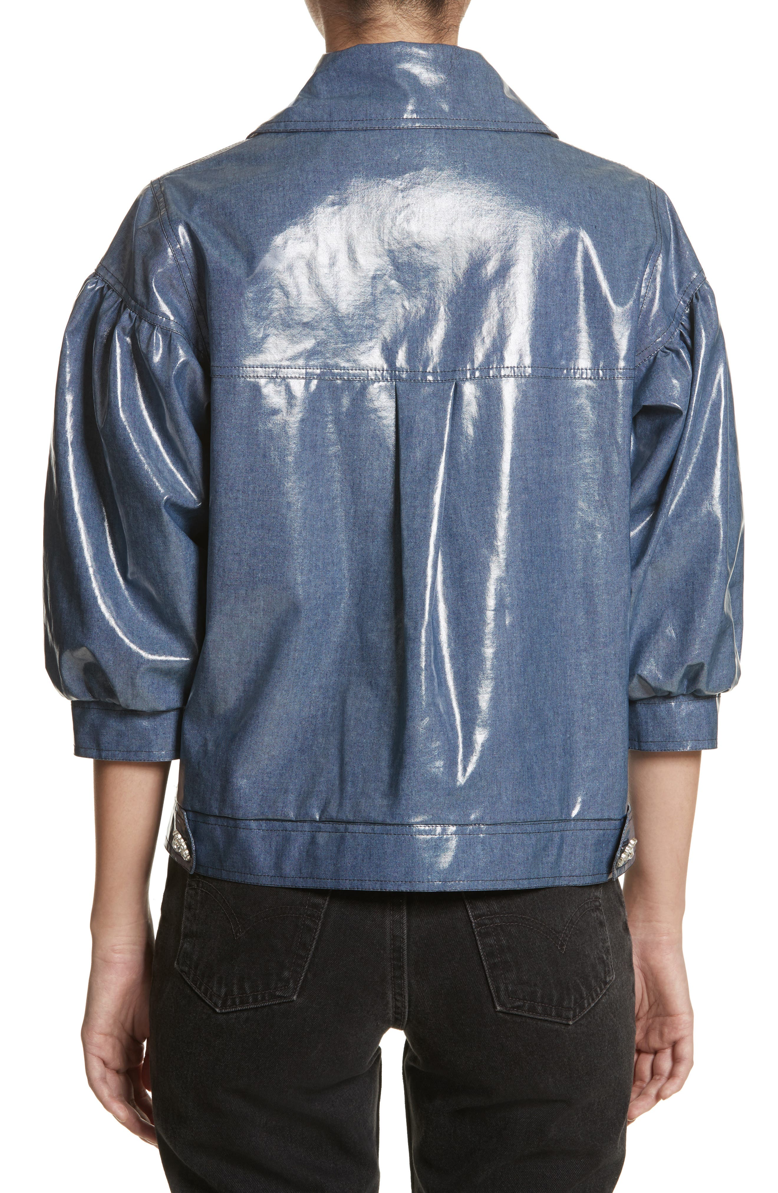 Luca Puff Sleeve Denim Jacket,                             Alternate thumbnail 2, color,