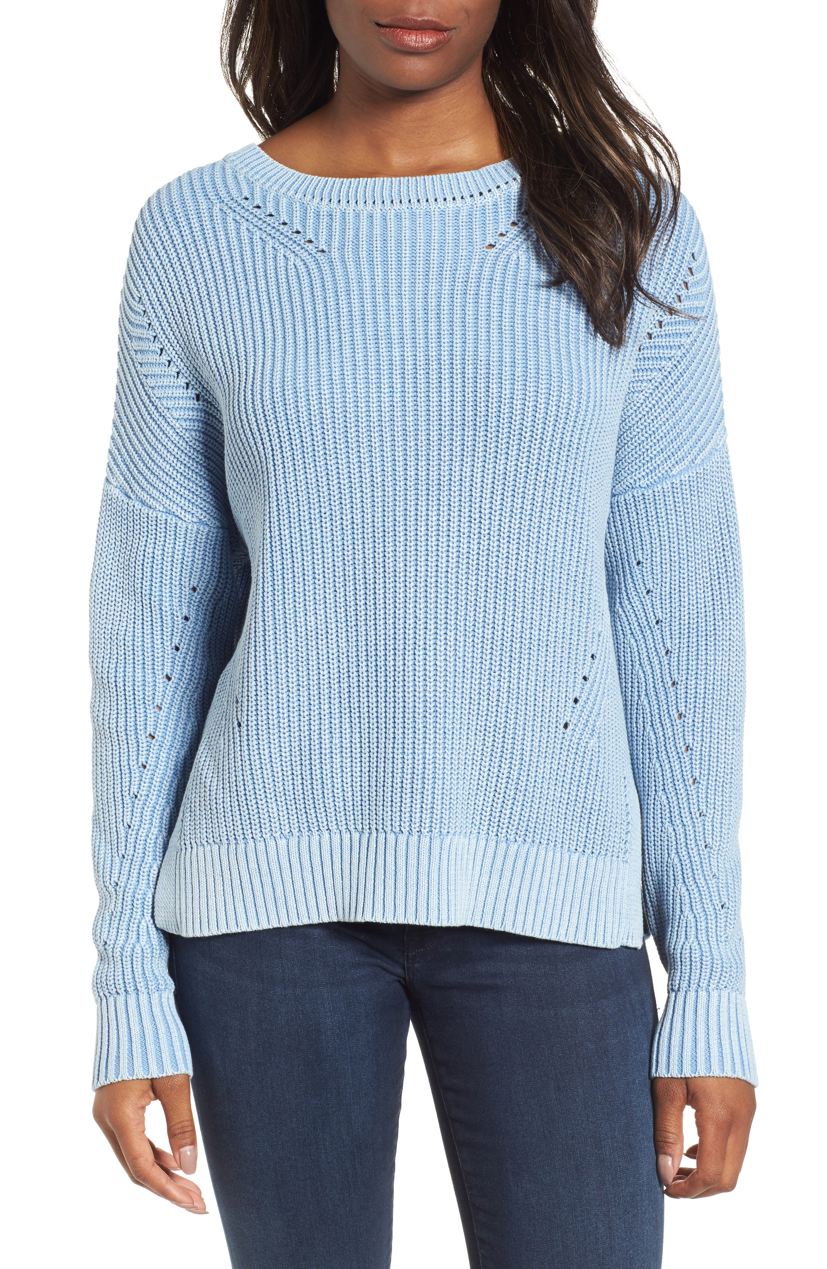 Shaker Stitch Cotton Sweater,                         Main,                         color,