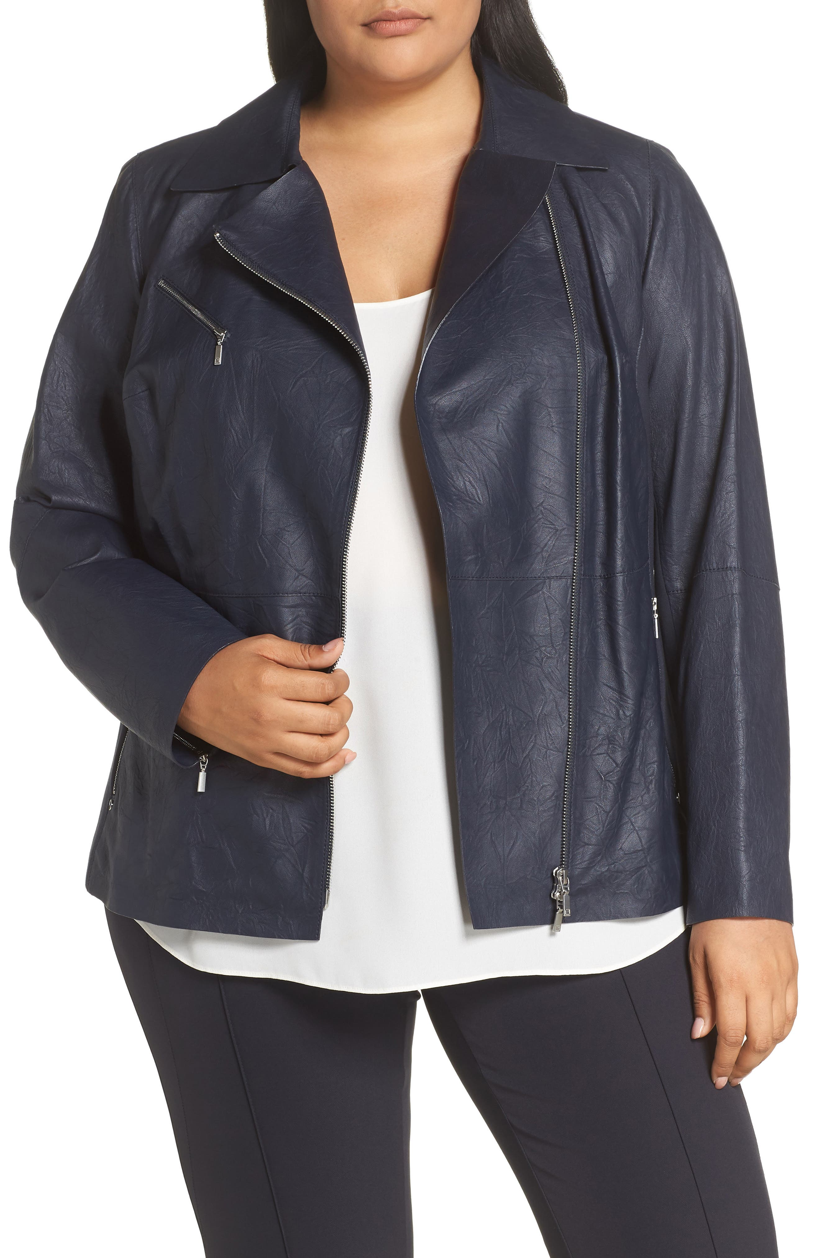 Lafayette 148 Elwood Ponte Detail Leather Moto Jacket,                             Main thumbnail 1, color,                             INK