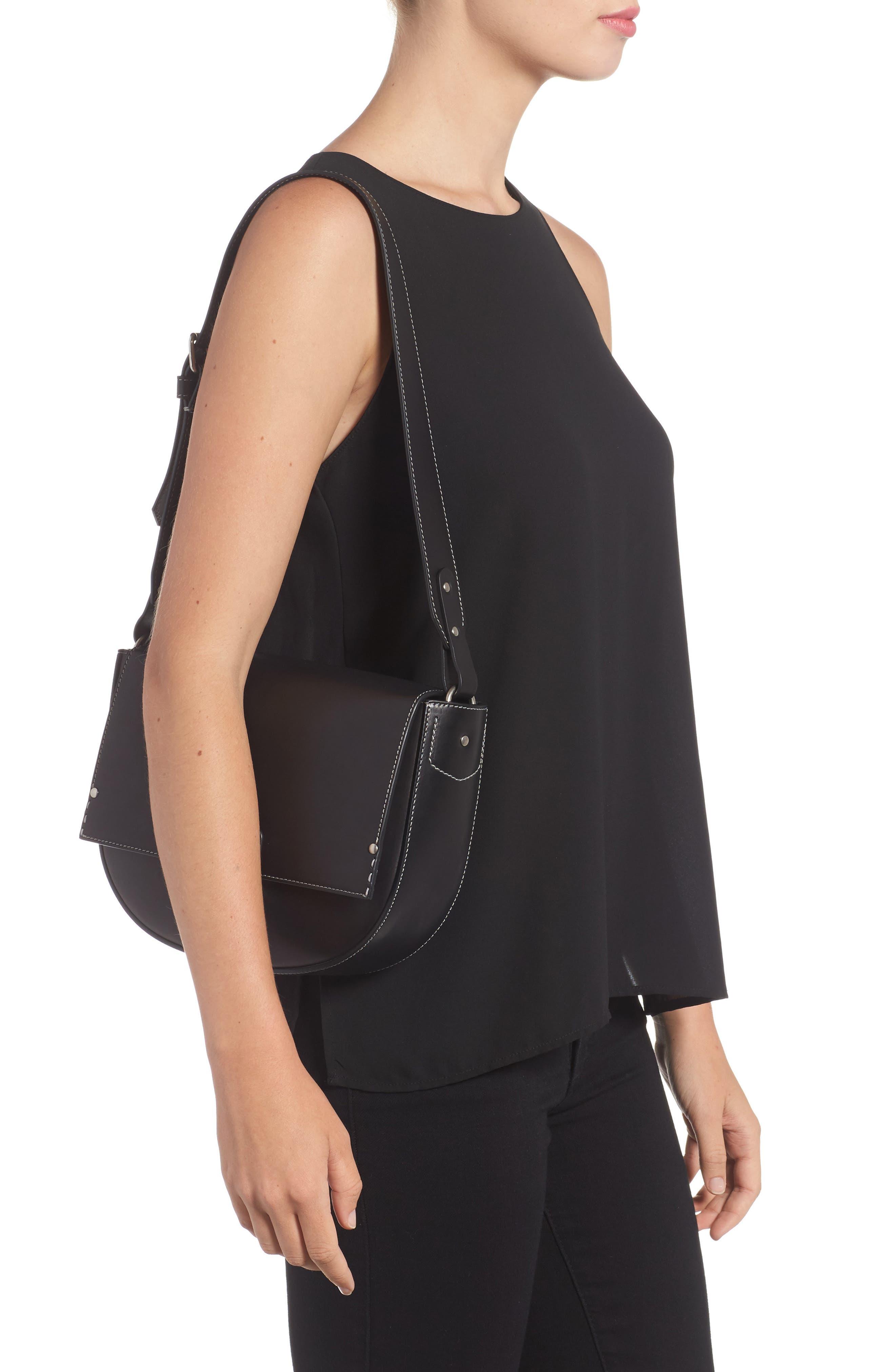 Marlow II Leather Shoulder Bag,                             Alternate thumbnail 2, color,                             001