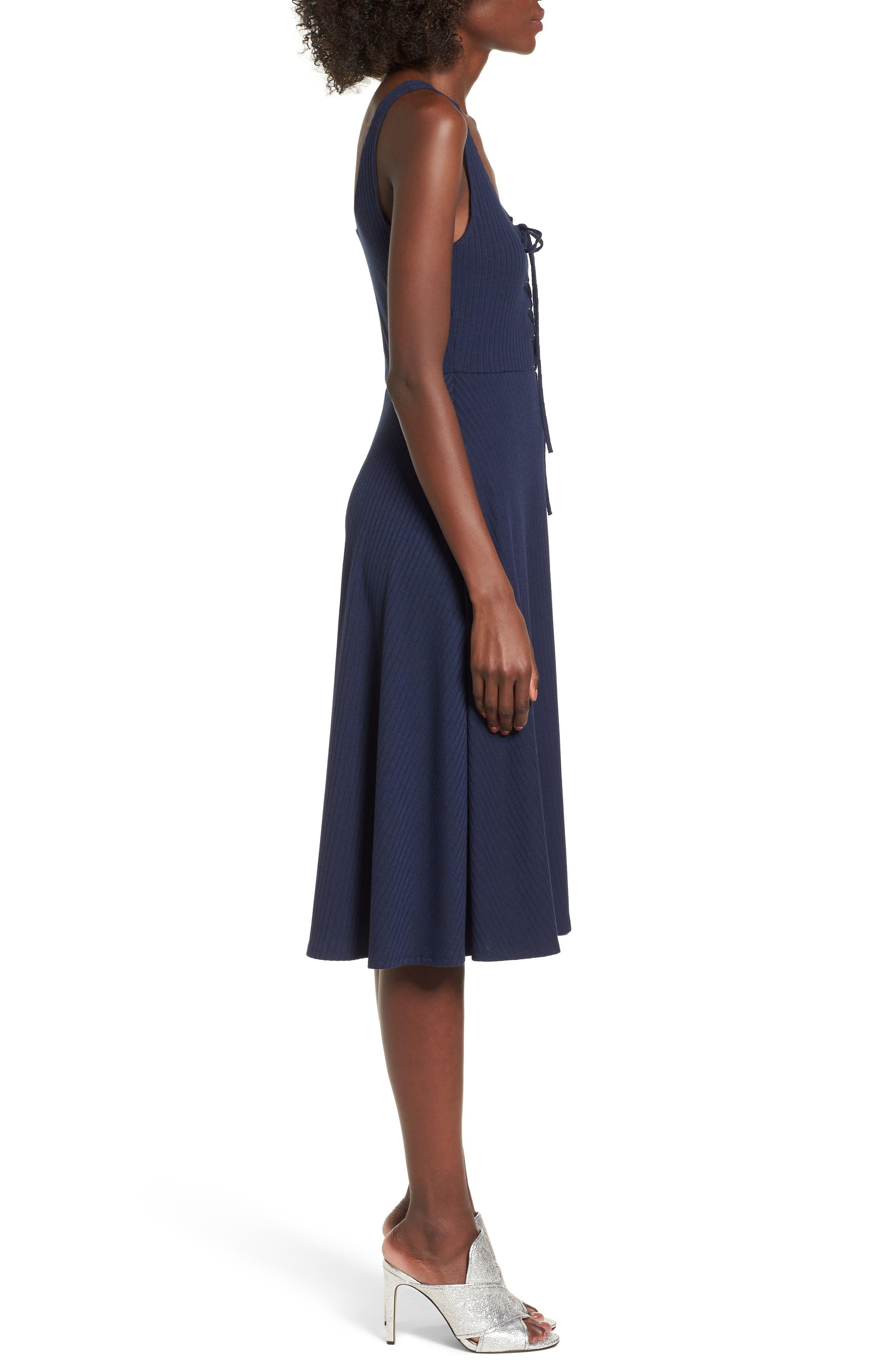 Fawn Lace-Up Midi Dress,                             Alternate thumbnail 3, color,                             400