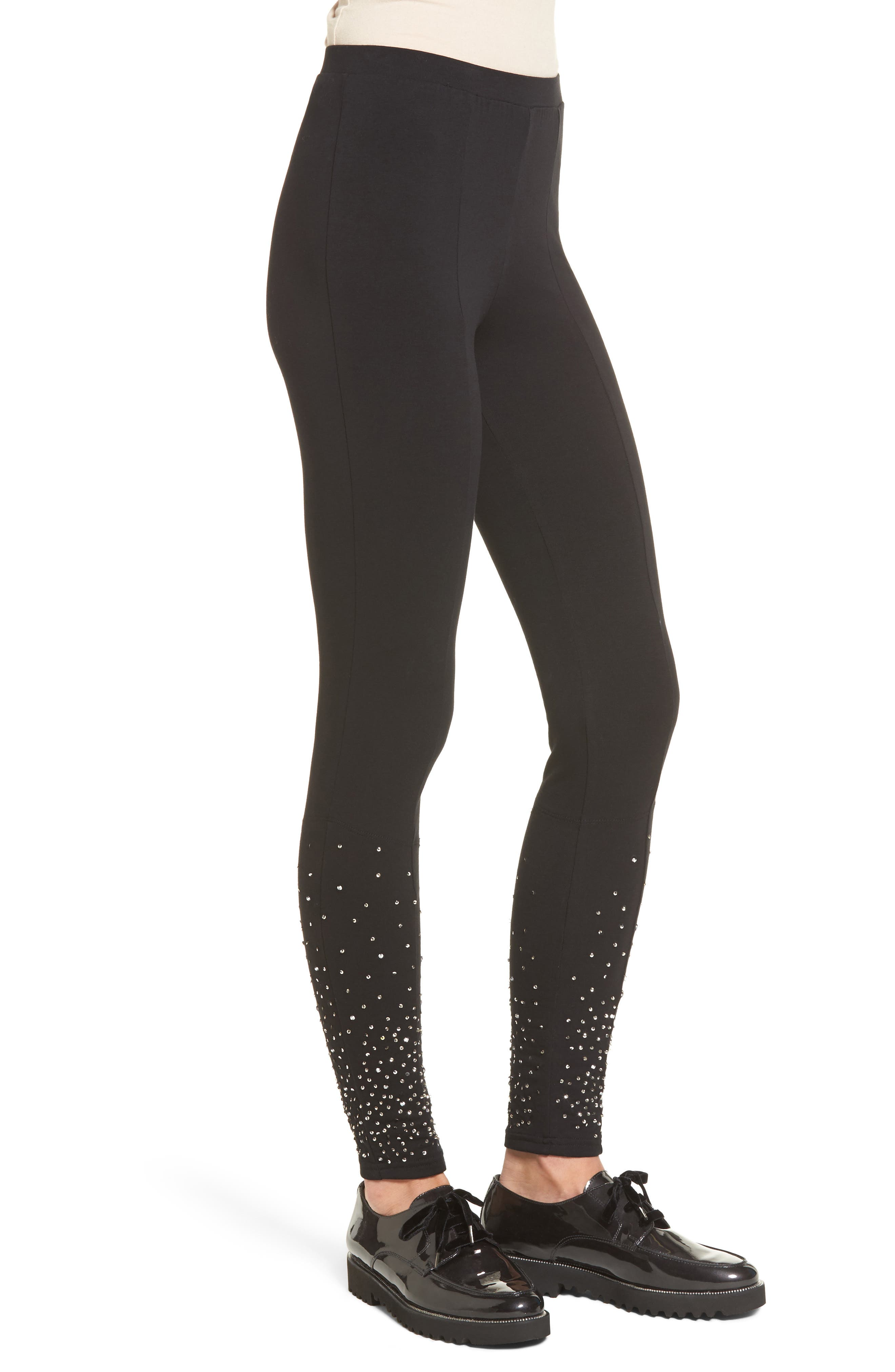 Sequin Embellished Leggings,                             Alternate thumbnail 3, color,                             001