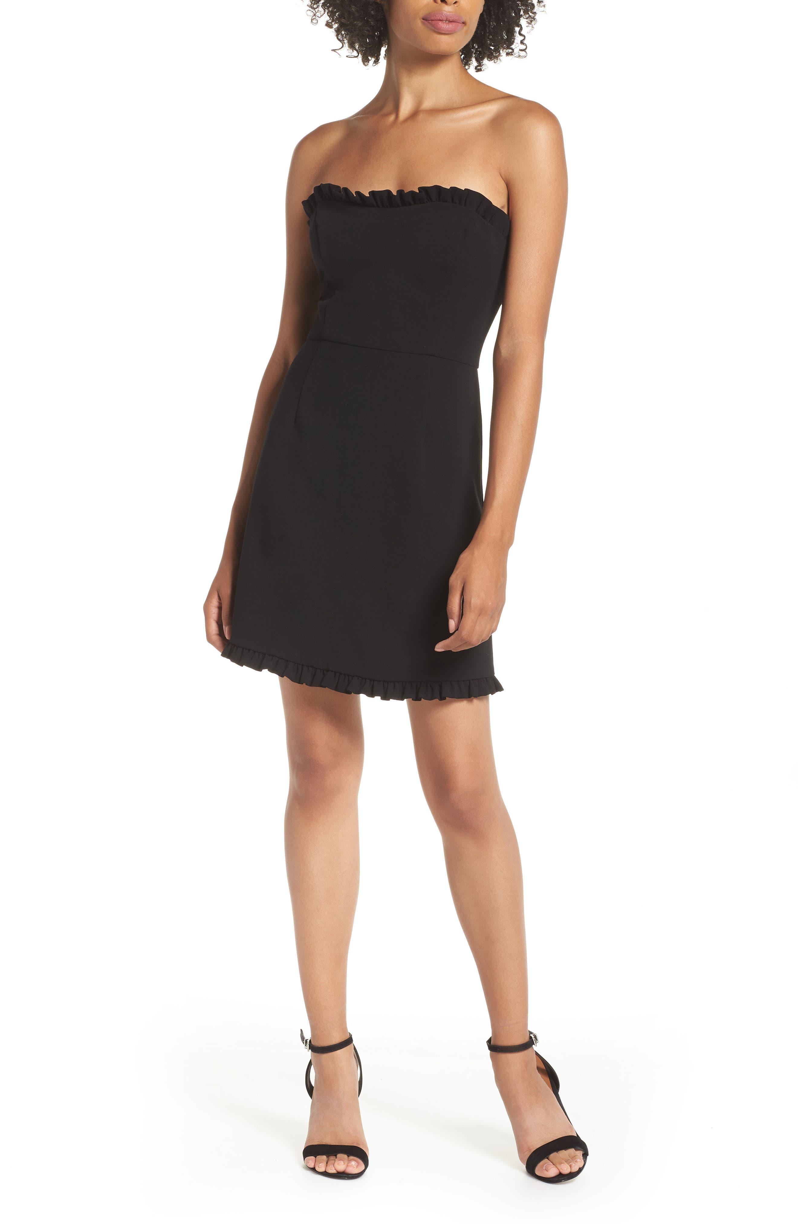 French Connection Whisper Strapless Minidress, Black