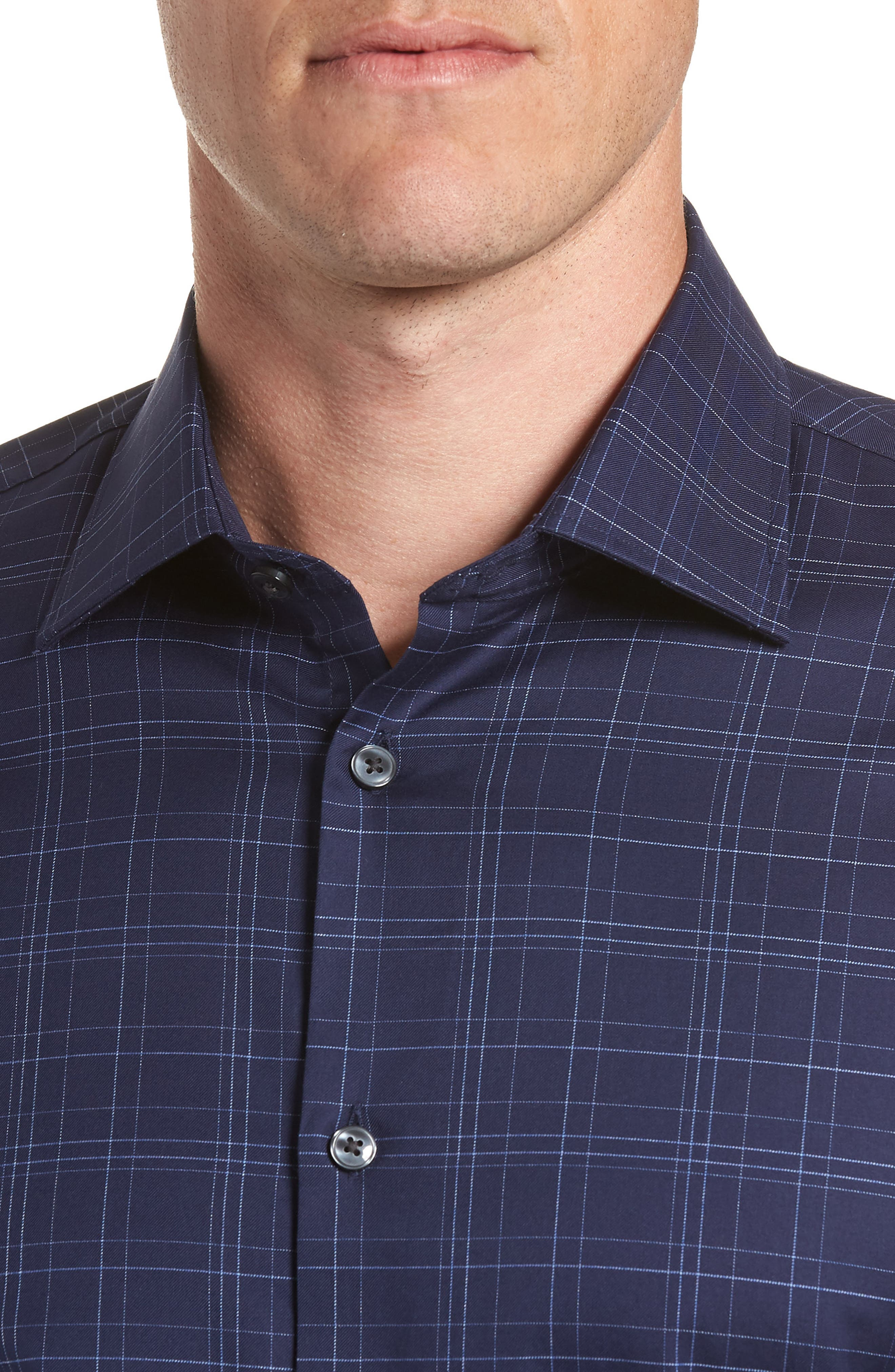 Windowpane Plaid Regular Fit Dress Shirt,                             Alternate thumbnail 2, color,                             INDIGO