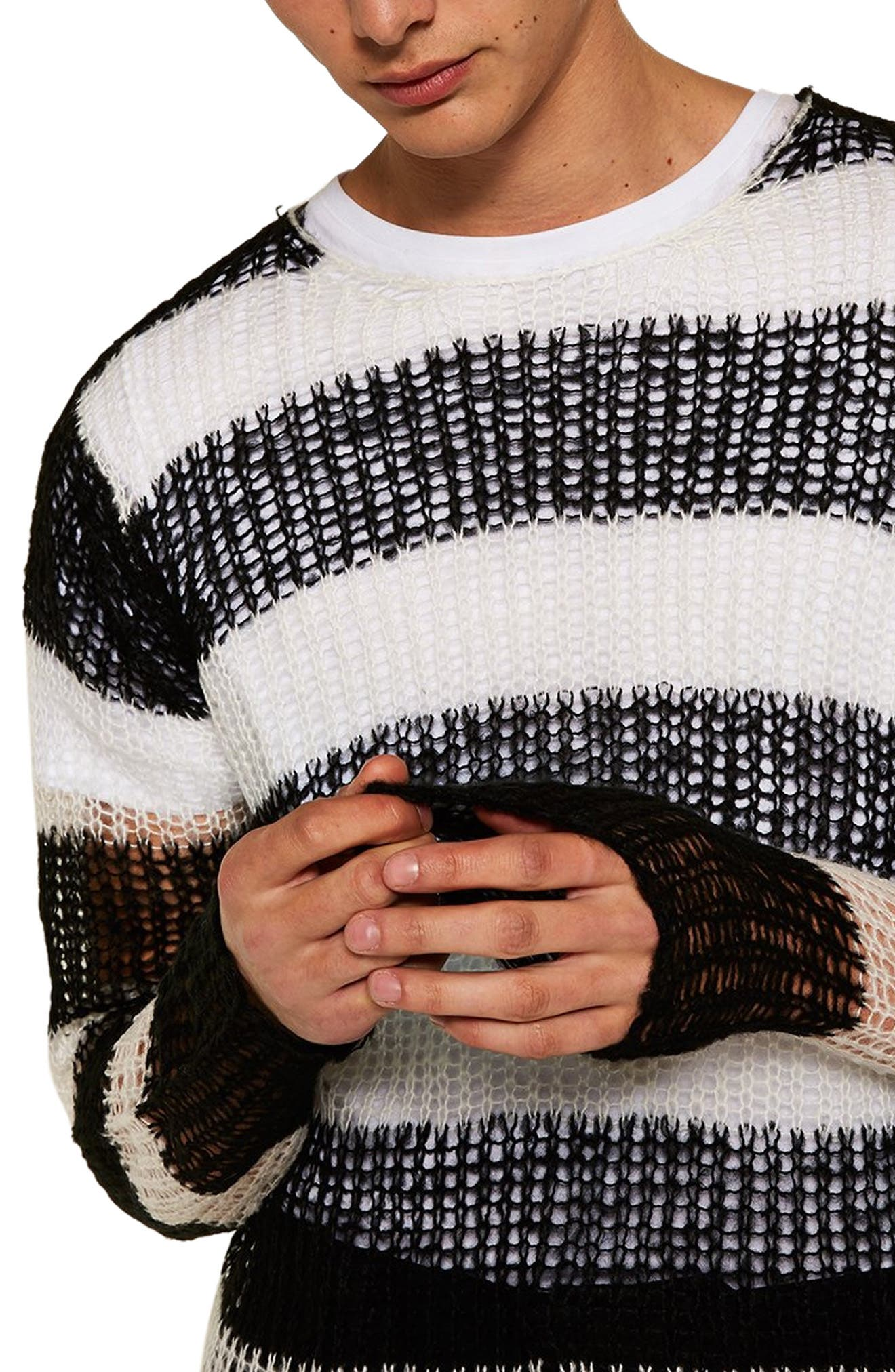 Stripe Classic Fit Sweater,                             Alternate thumbnail 3, color,                             001