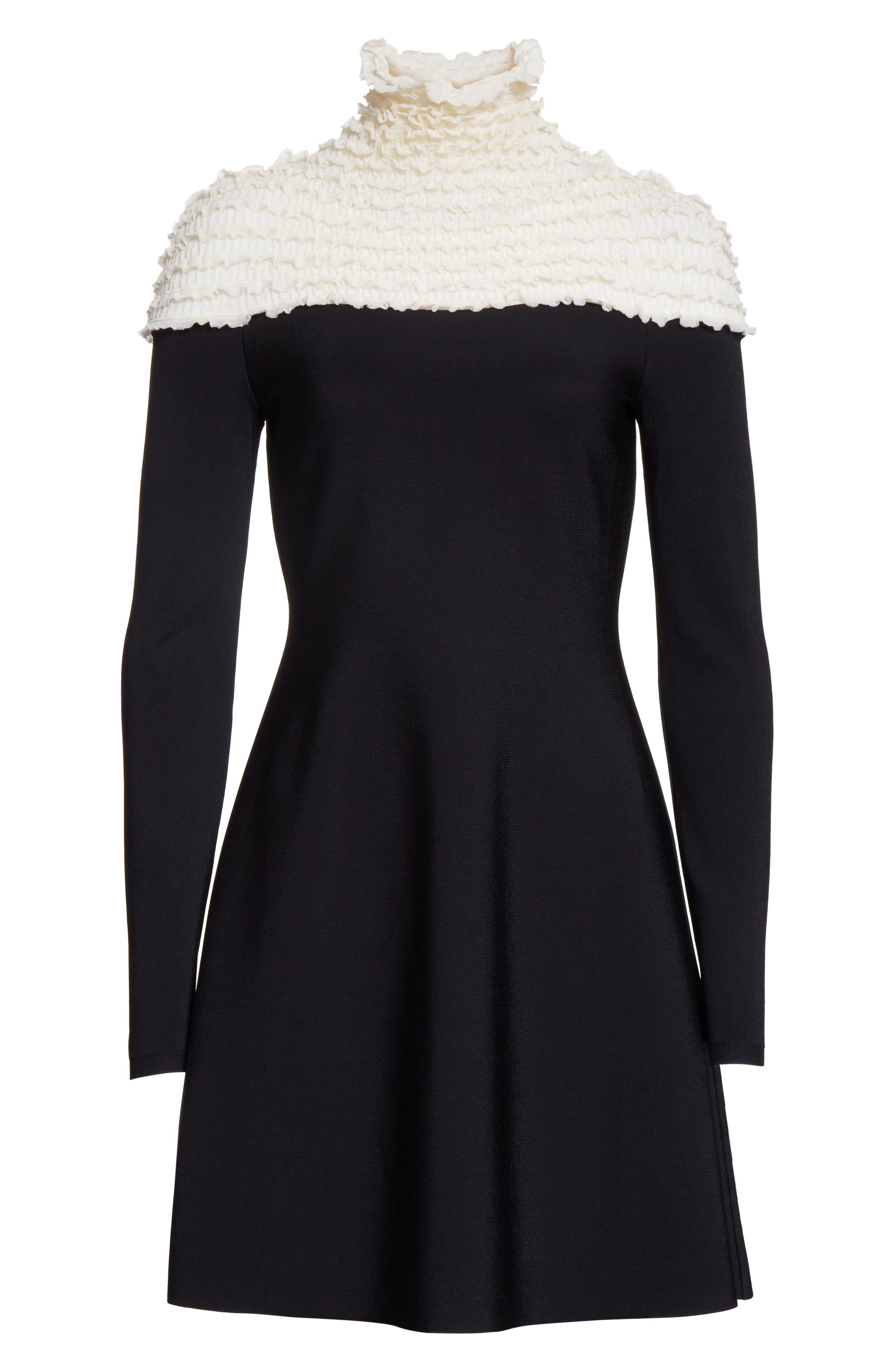 Ruffle Neckline Knit Dress,                             Alternate thumbnail 6, color,                             002