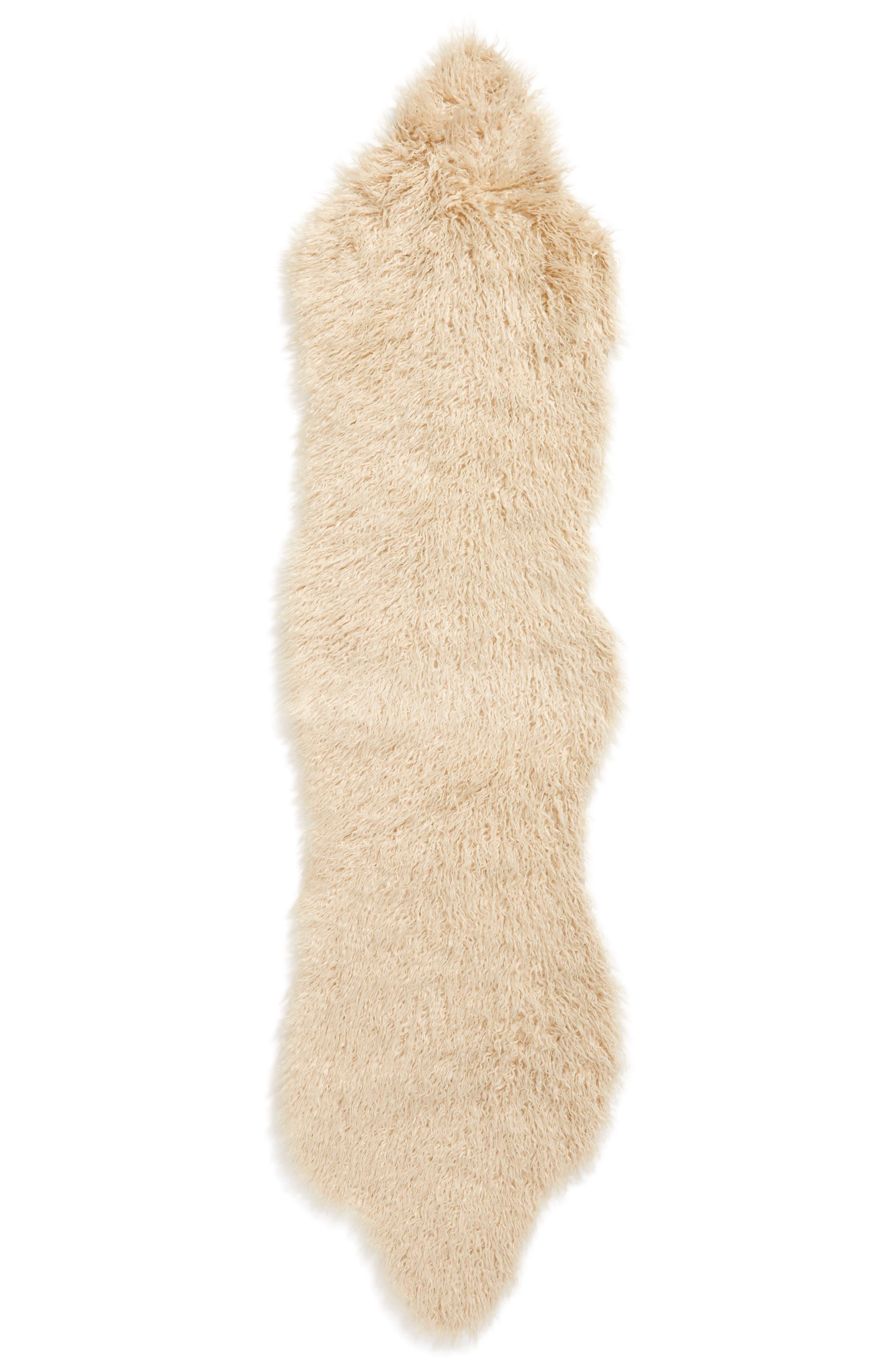 TREASURE & BOND Curly Faux Fur Rug, Main, color, BEIGE BEACH