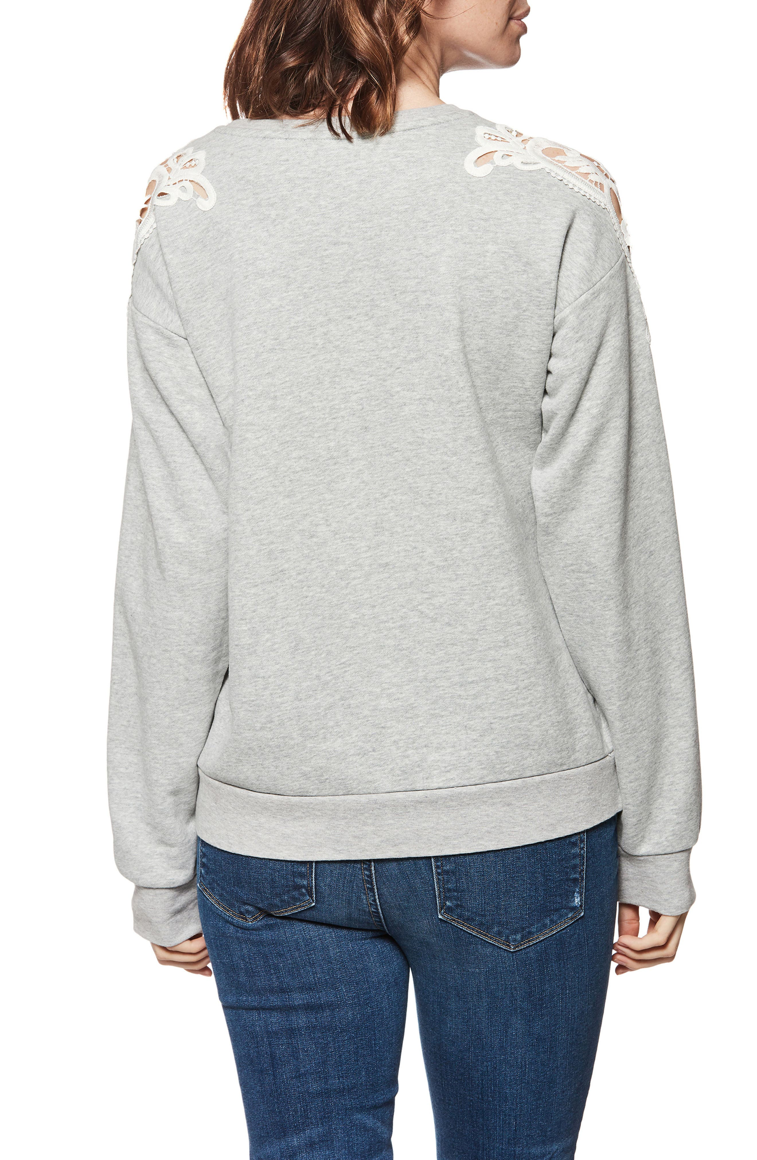 Eilise Crochet Detail Sweatshirt,                             Alternate thumbnail 2, color,                             061