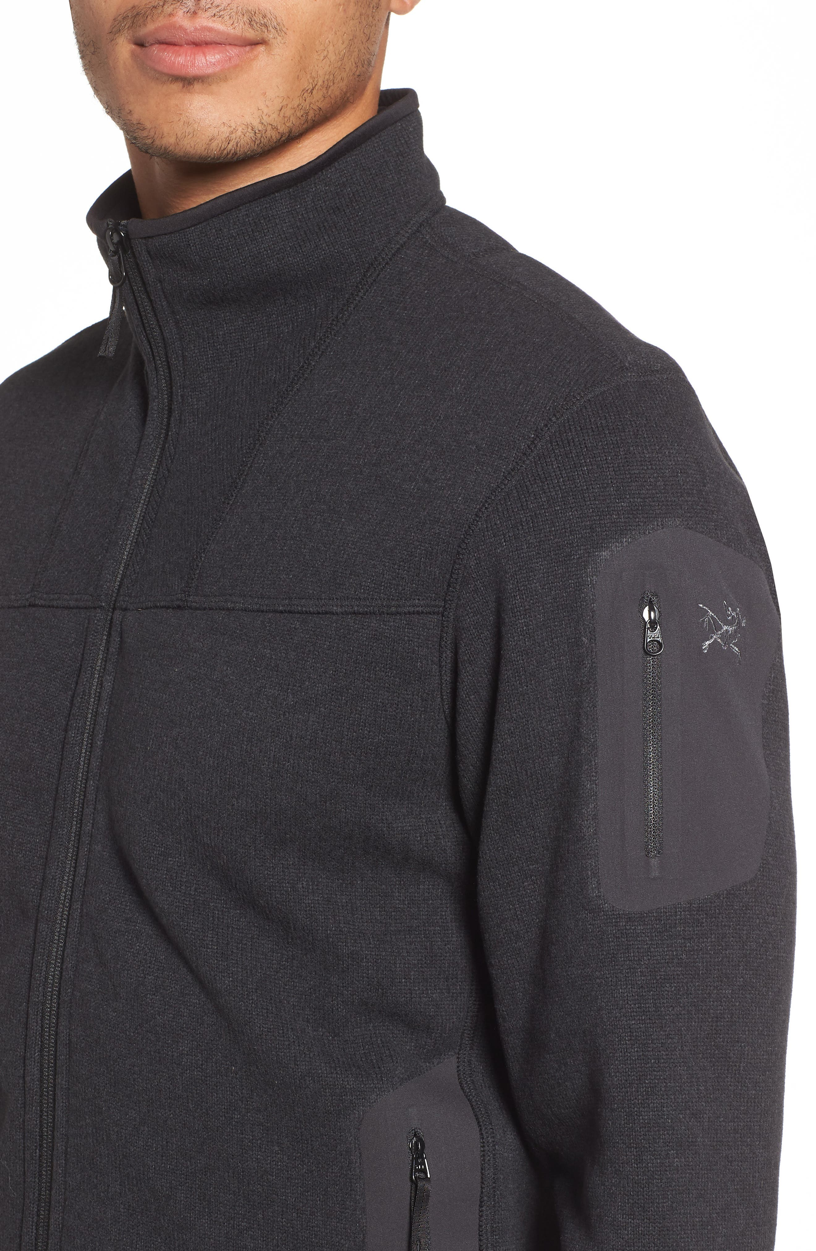 'Covert' Relaxed Fit Technical Fleece Zip Jacket,                             Alternate thumbnail 4, color,                             BLACK HEATHER