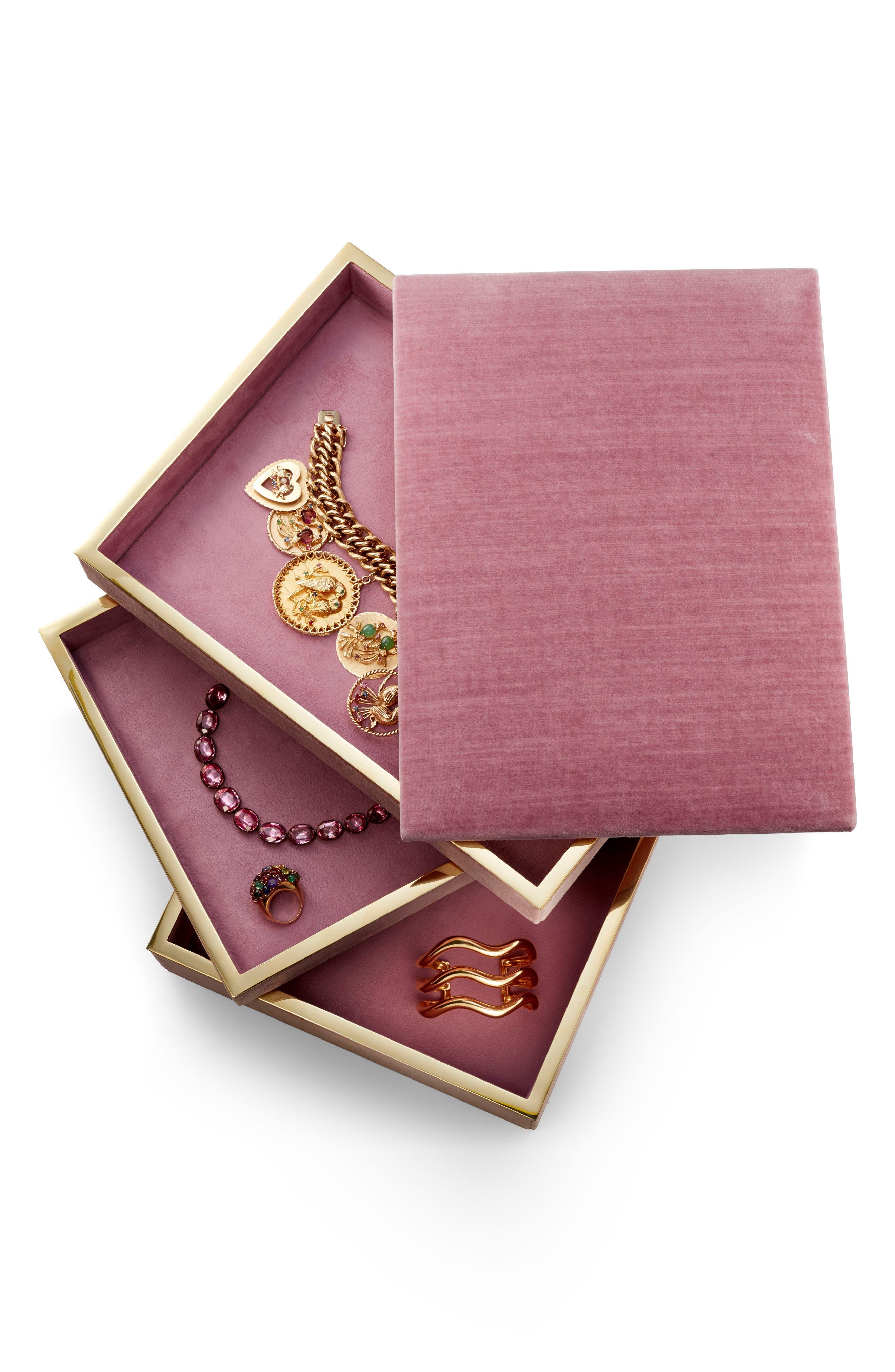 Valentina Velvet Jewelry Box,                             Alternate thumbnail 4, color,                             650