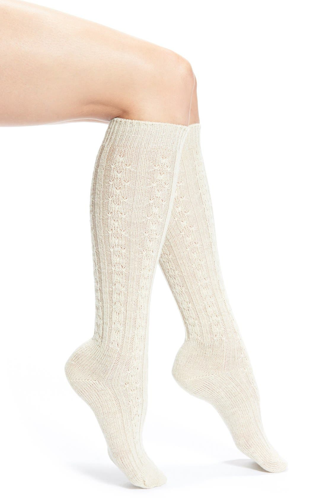 Cable Knit Knee Socks,                             Main thumbnail 3, color,