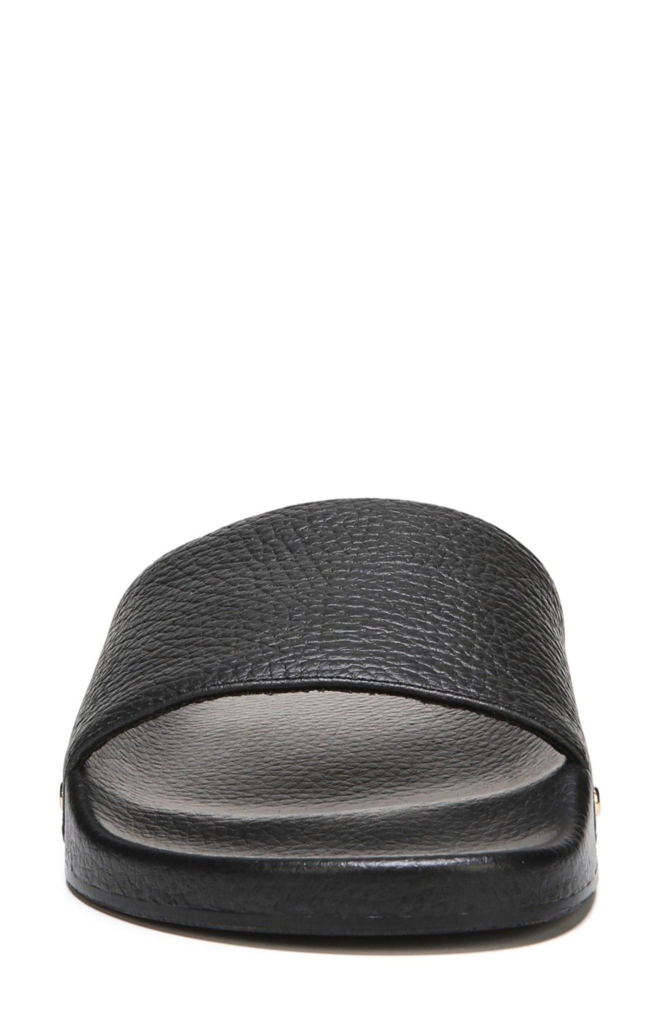 Pisces Slide Sandal,                             Alternate thumbnail 4, color,                             BLACK LEATHER