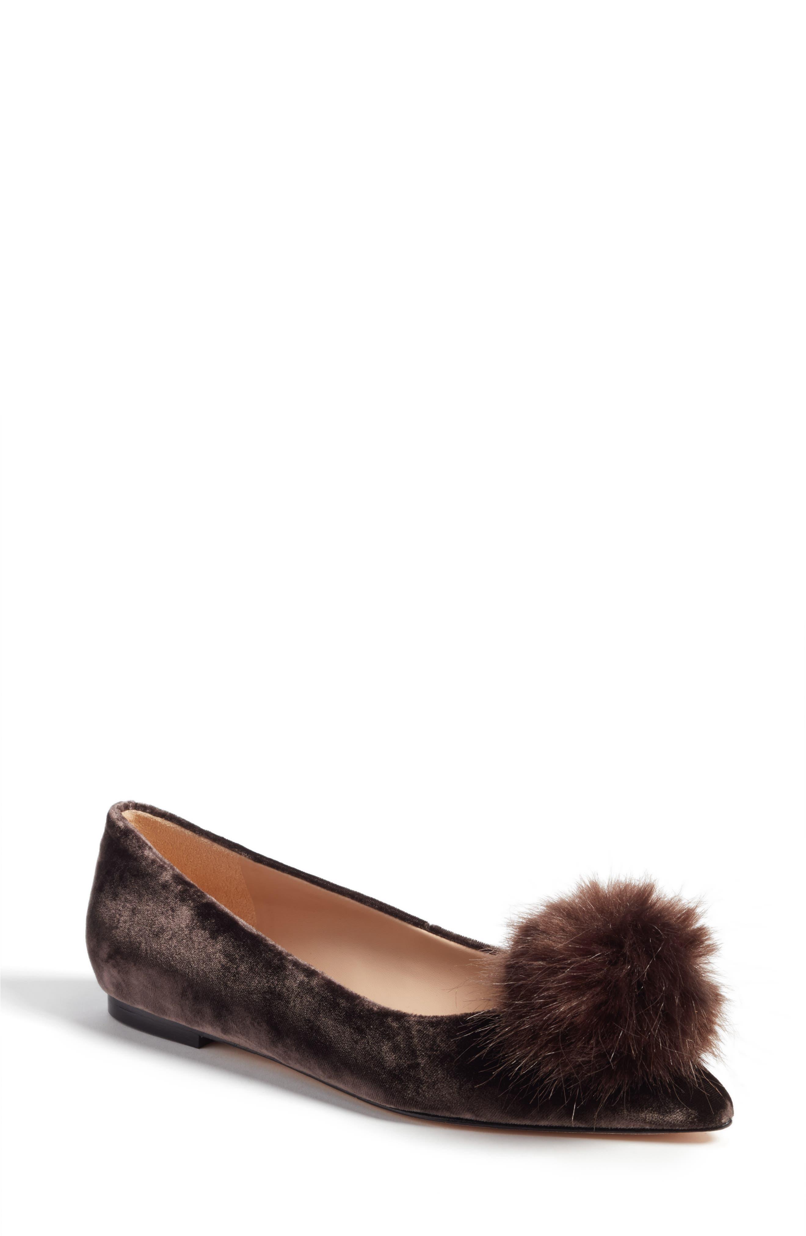 Raddie Faux Fur Pompom Flat, Main, color, 020