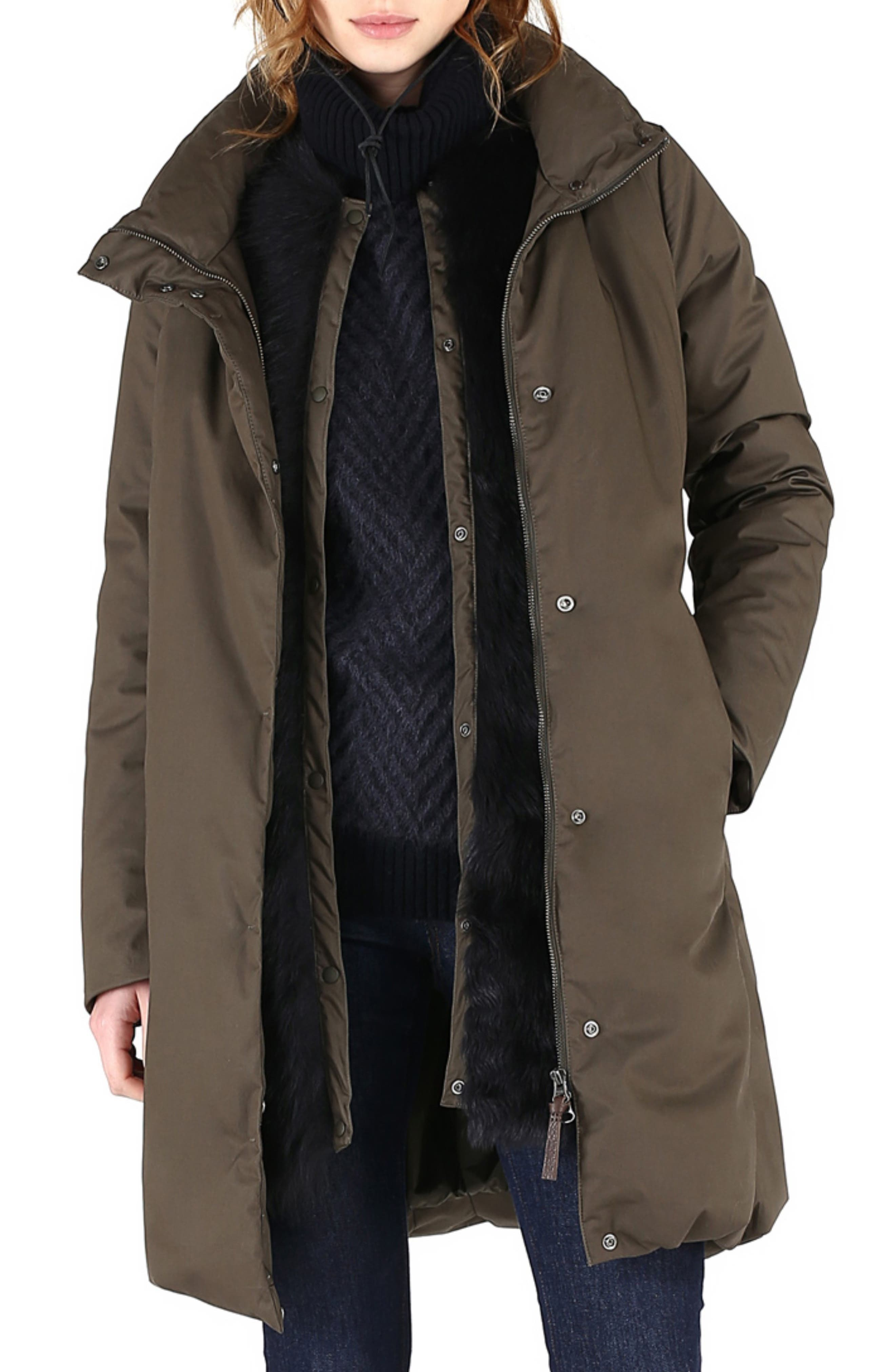 Cocoon Genuine Shearling Lined Down Coat,                             Main thumbnail 1, color,                             MILITARY OLIVE