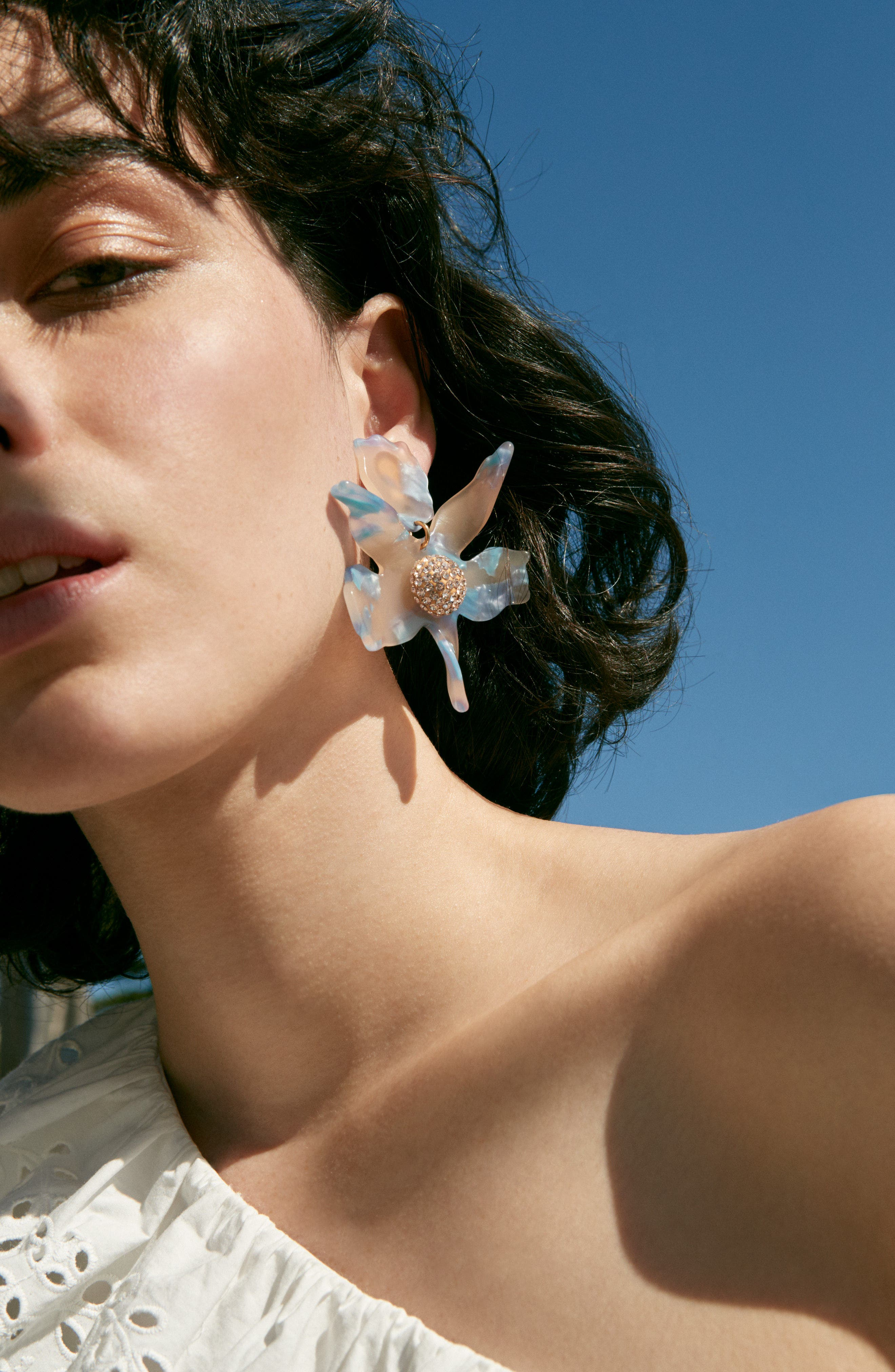 Crystal Drop Earrings,                             Alternate thumbnail 5, color,                             LAGOON BLUE