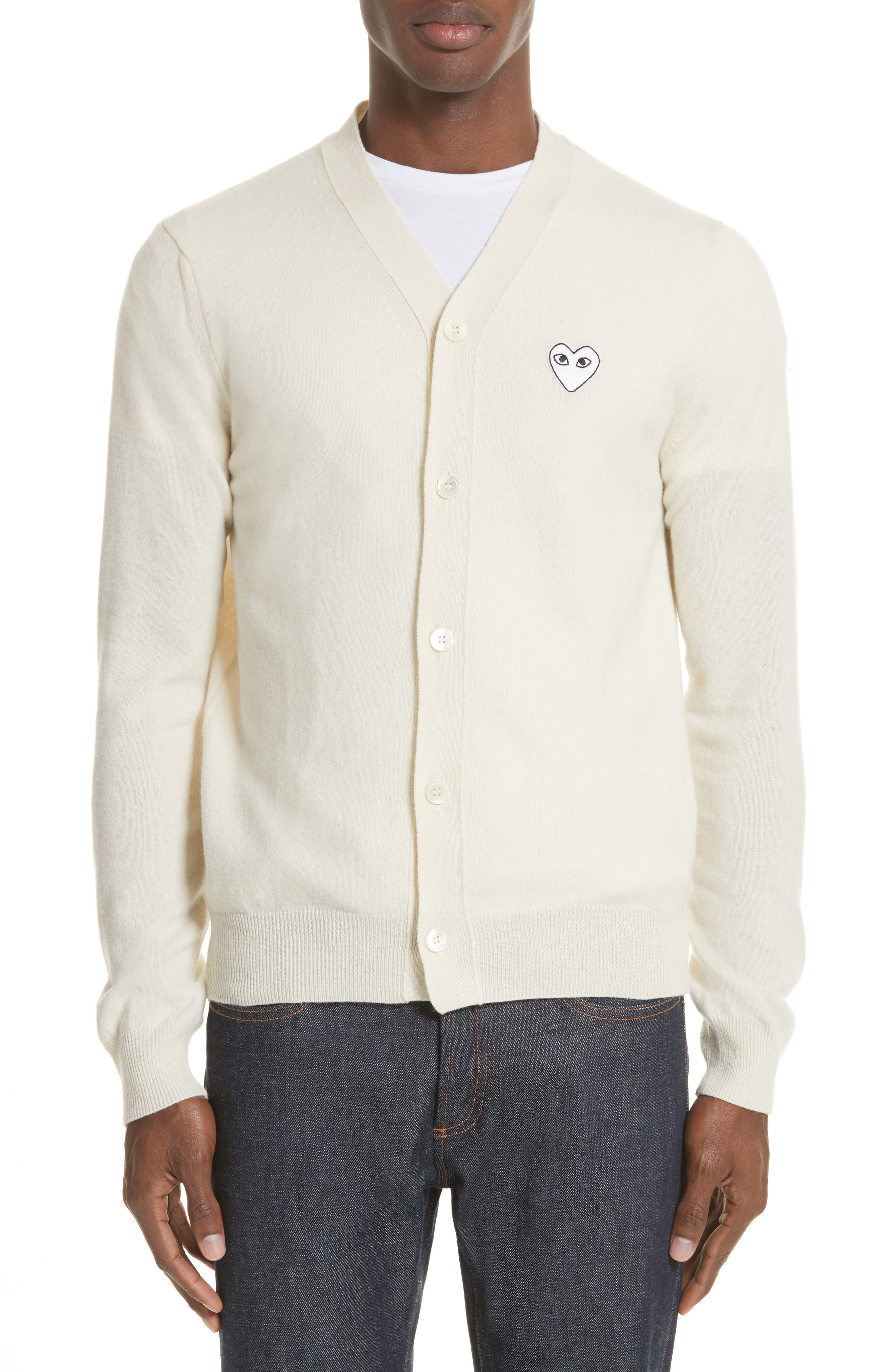 Comme Des Garcons Play White Heart Wool Cardigan