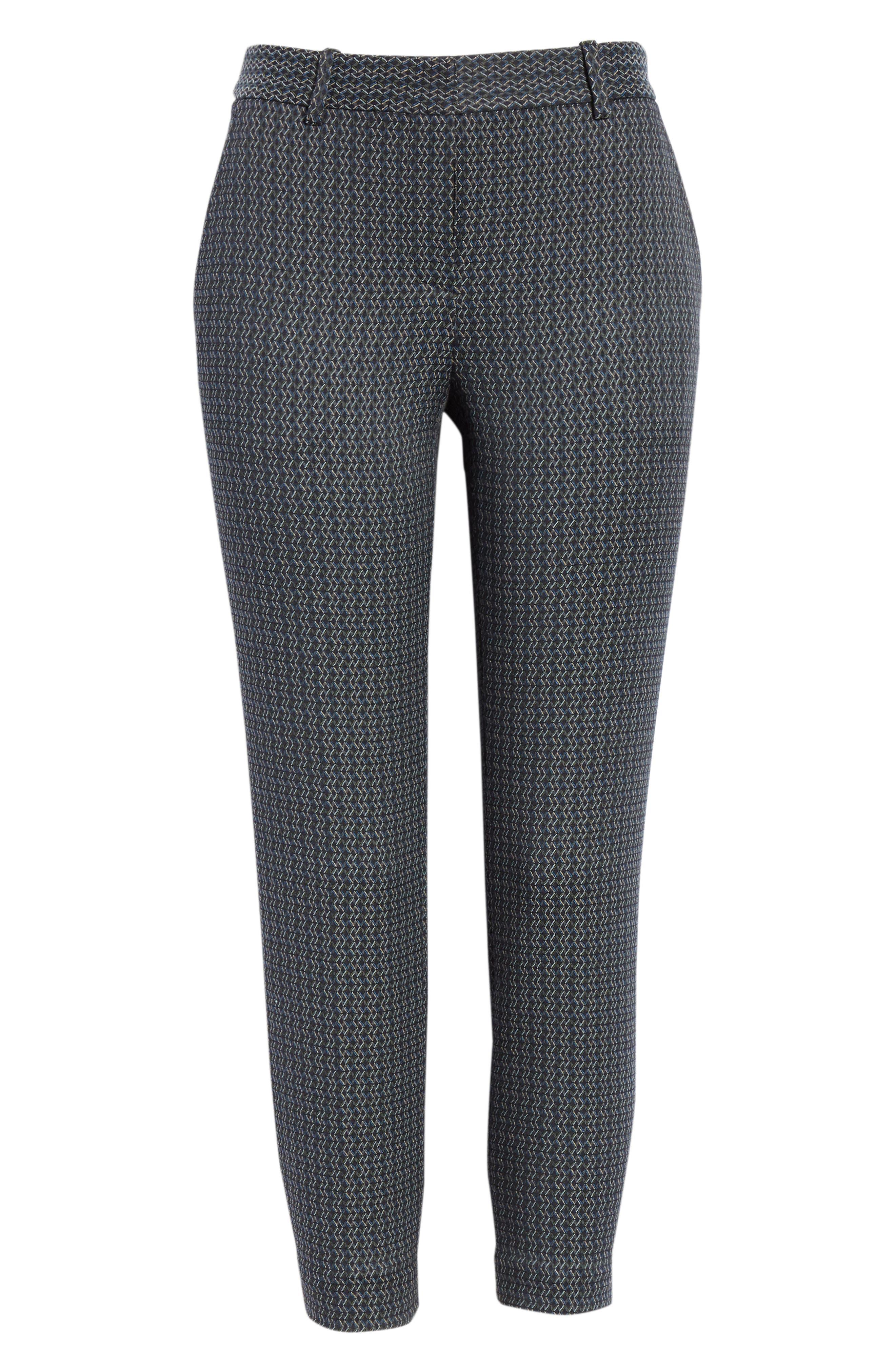 Treeca Shadow Jacquard Slim Crop Pants,                             Alternate thumbnail 6, color,                             MULTI