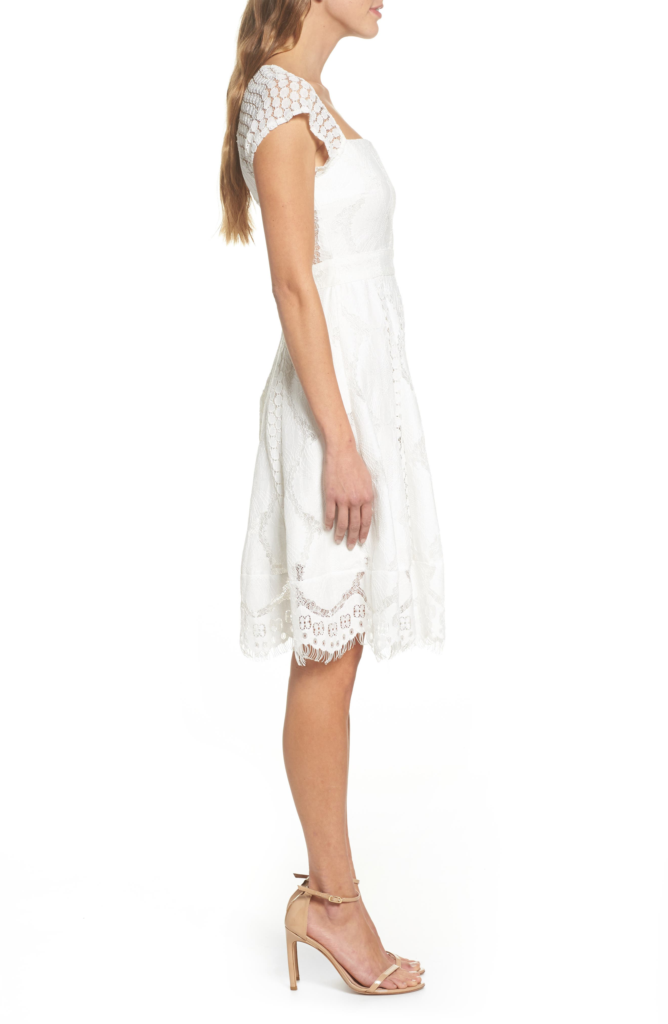 Theodora Lace Dress,                             Alternate thumbnail 3, color,                             100