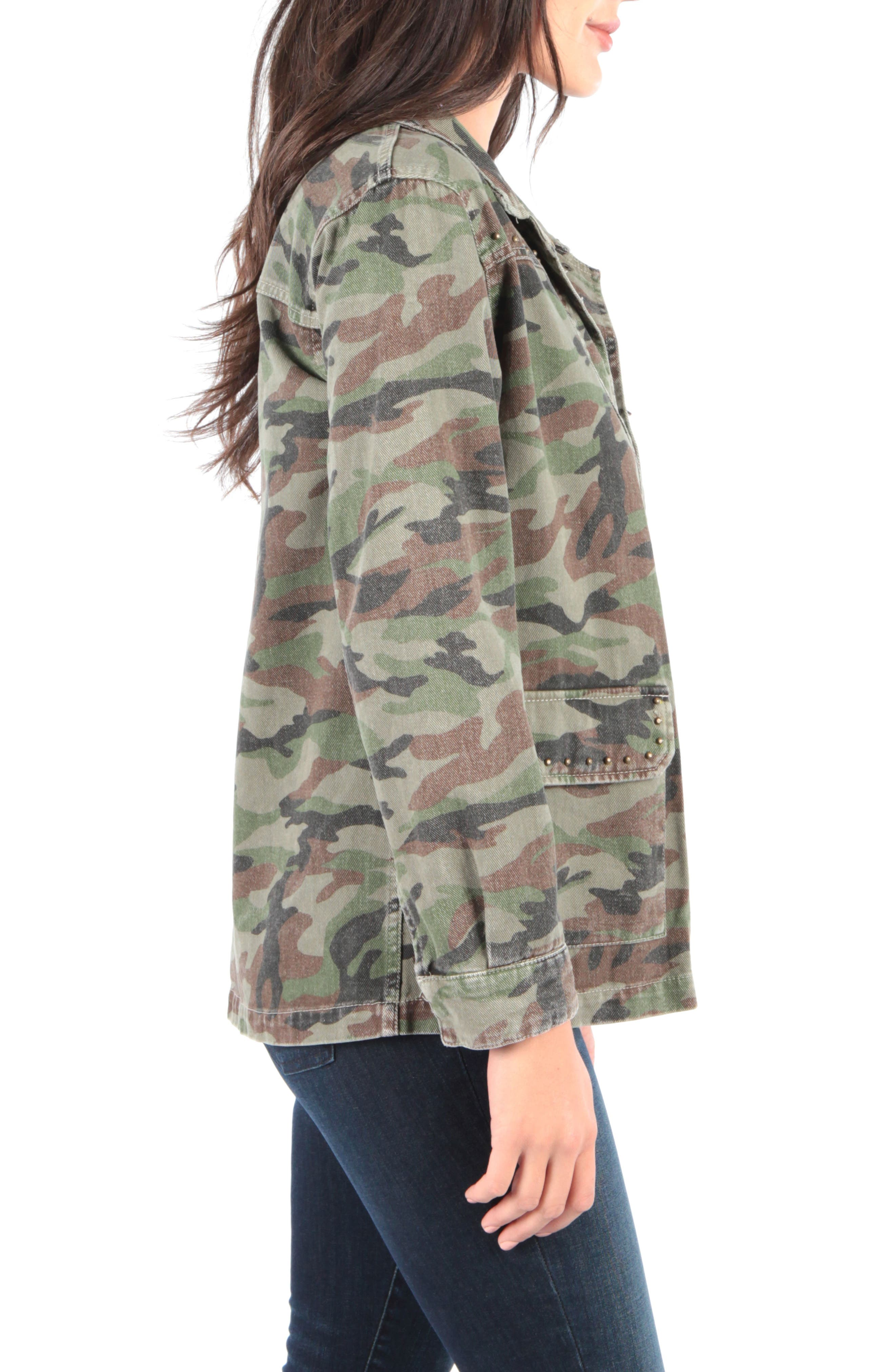 Claudia Camo Jacket,                             Alternate thumbnail 3, color,                             OLIVE