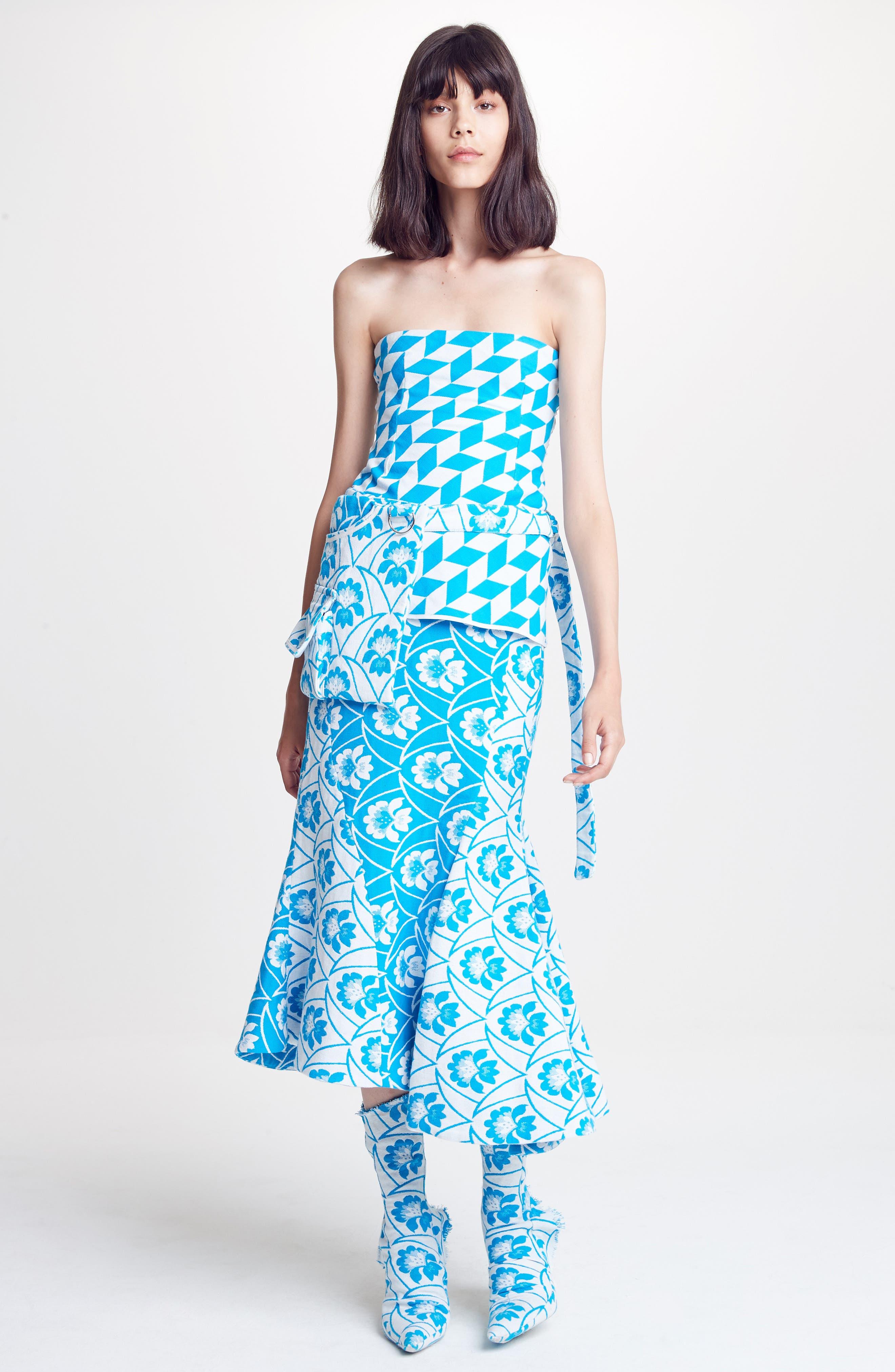 Twist Seam Flare Hem Skirt,                             Alternate thumbnail 8, color,                             460