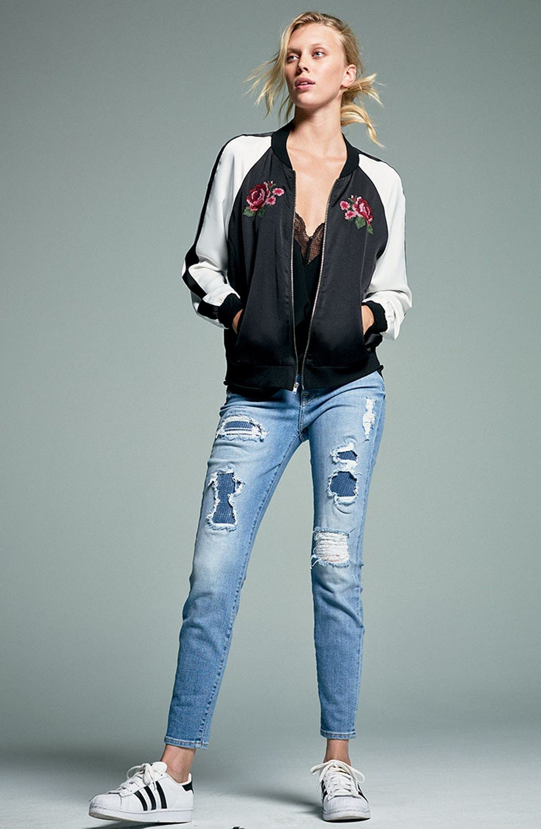 Embellished & Ripped Ankle Skinny Jeans,                             Alternate thumbnail 7, color,                             405