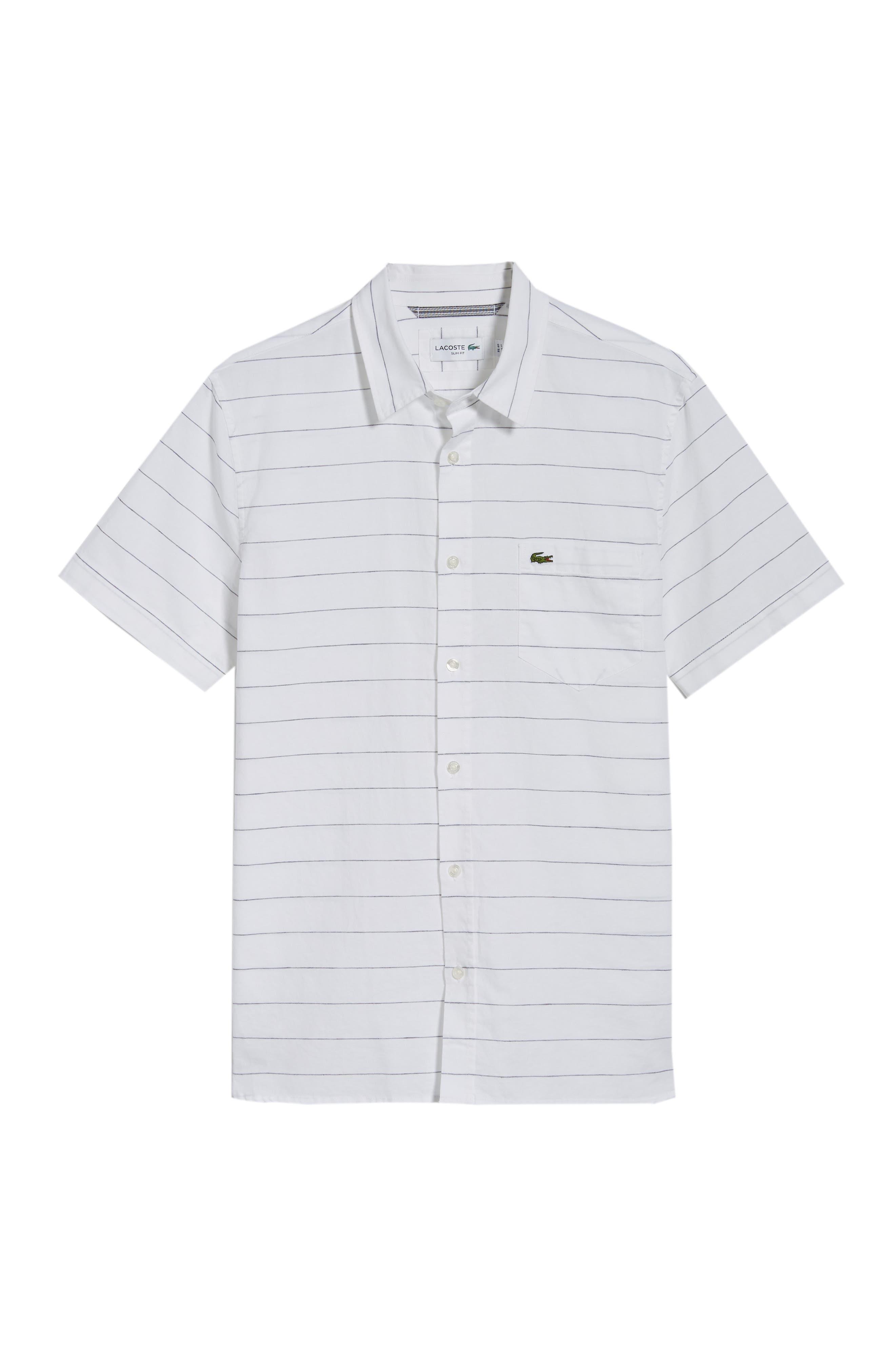 Slim Fit Stripe Cotton & Linen Sport Shirt,                             Alternate thumbnail 8, color,