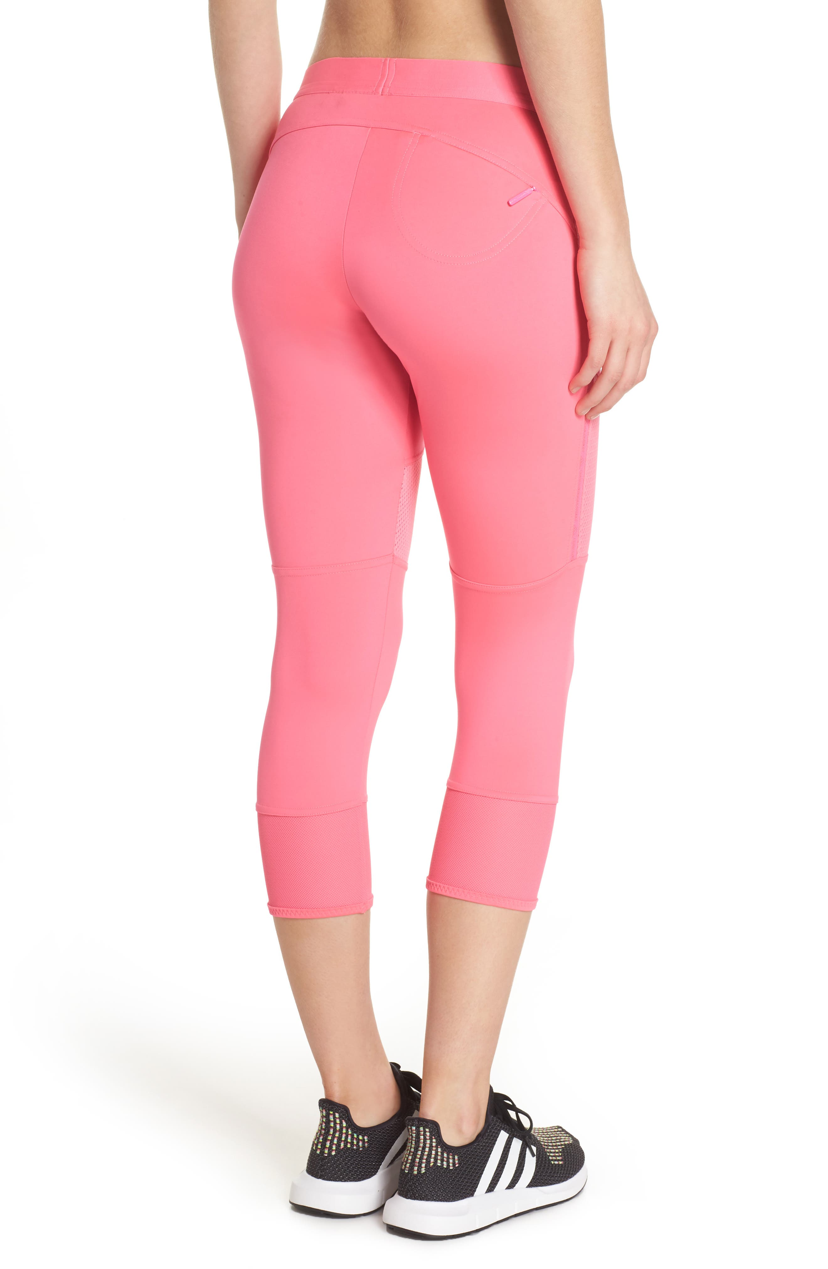 Performance Essentials Crop Leggings,                             Alternate thumbnail 2, color,                             SOLAR PINK