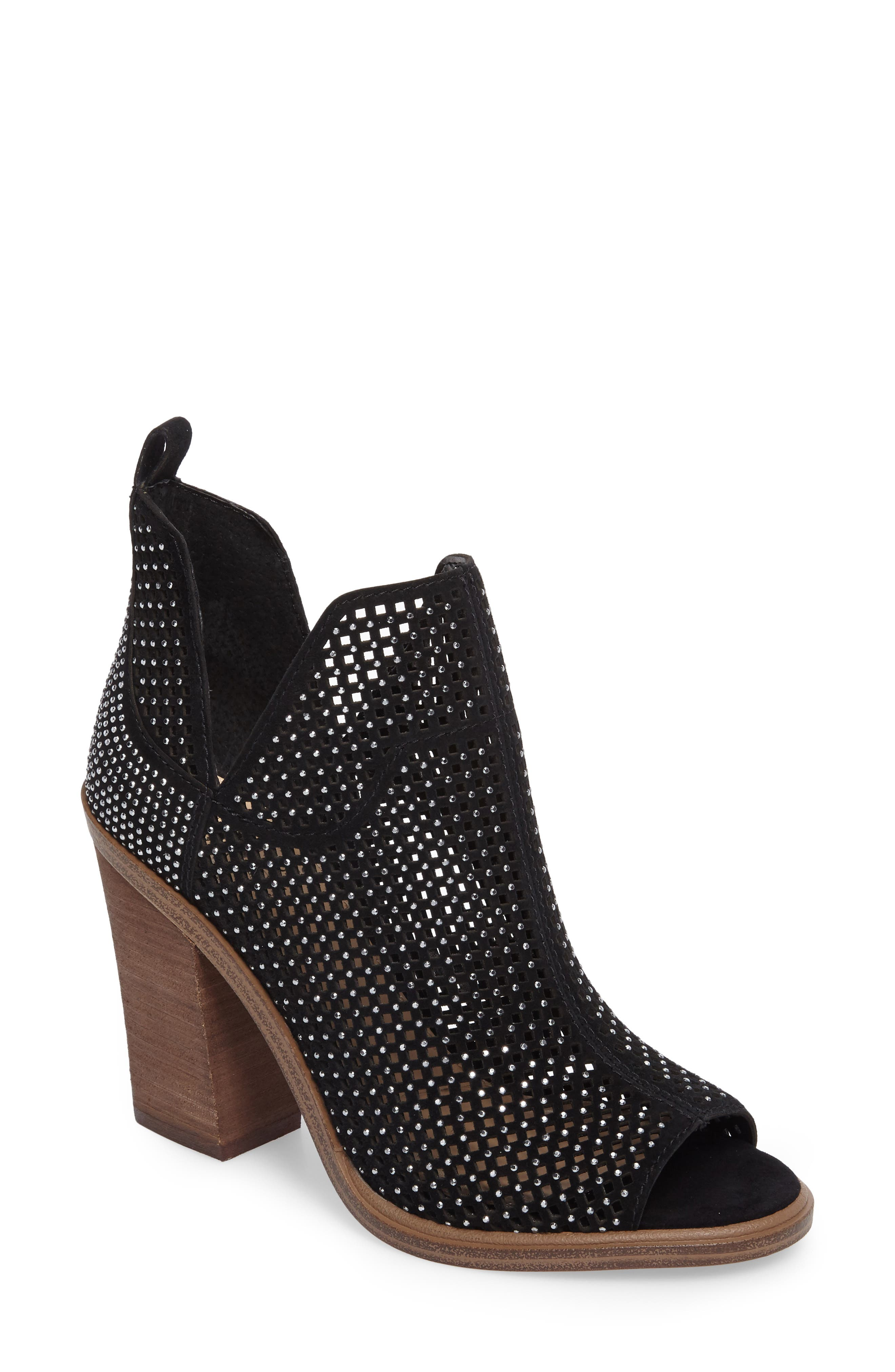 VINCE CAMUTO,                             Kiminni Open Toe Bootie,                             Main thumbnail 1, color,                             001