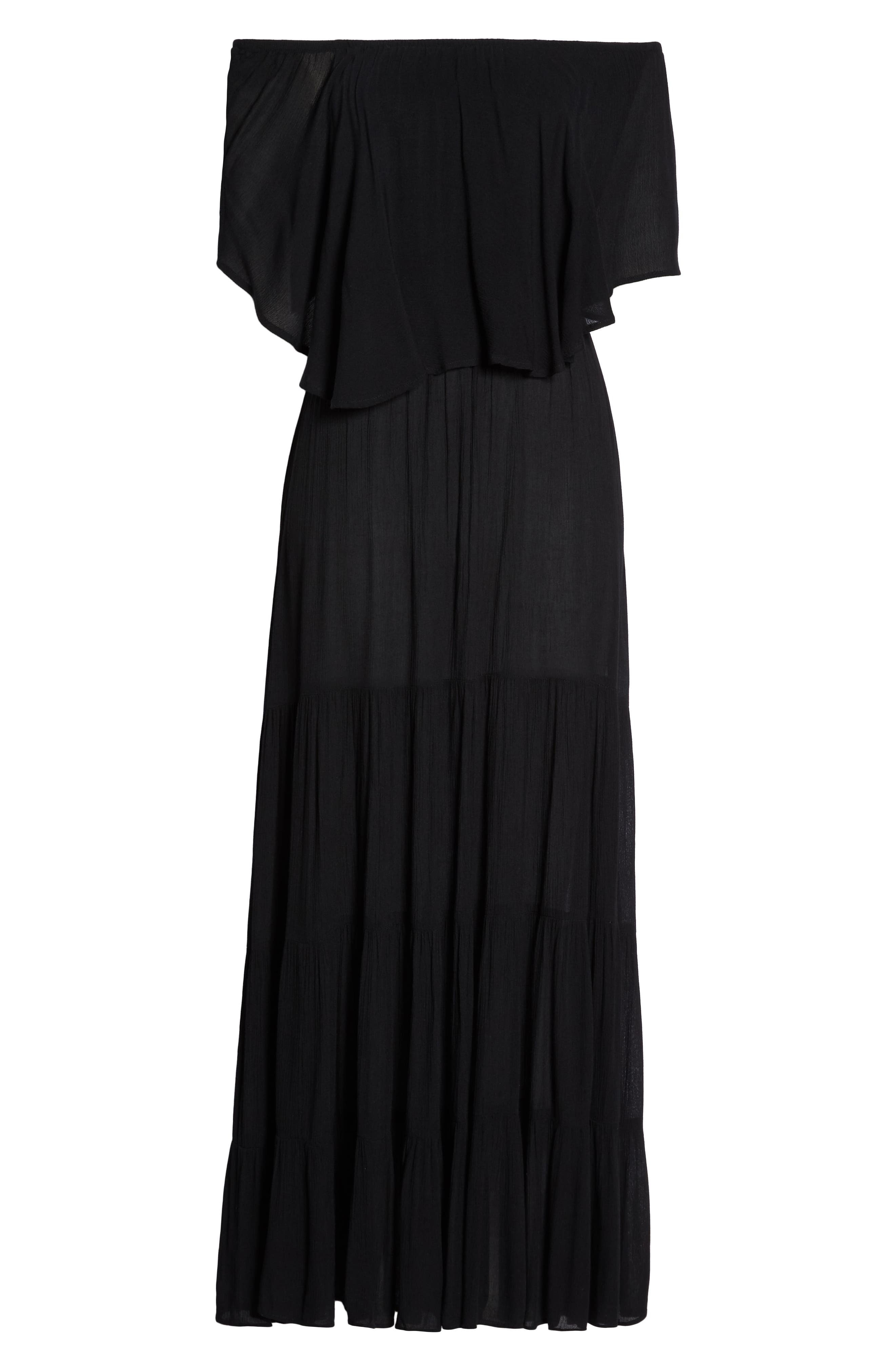 Off the Shoulder Ruffle Cover-Up Maxi Dress,                             Alternate thumbnail 6, color,                             BLACK